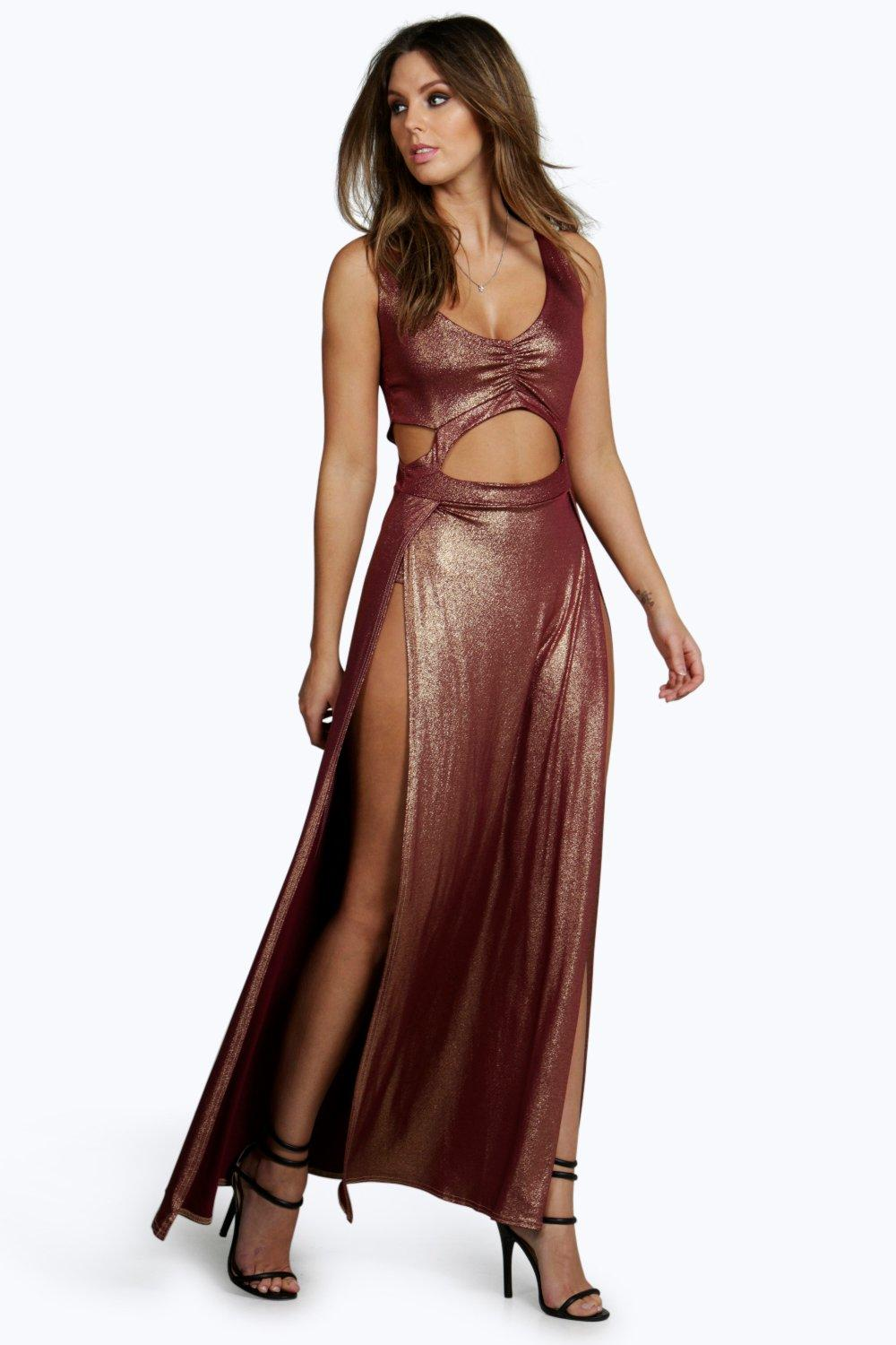 Amber Metallic Thigh Split Cut Out Maxi Dress