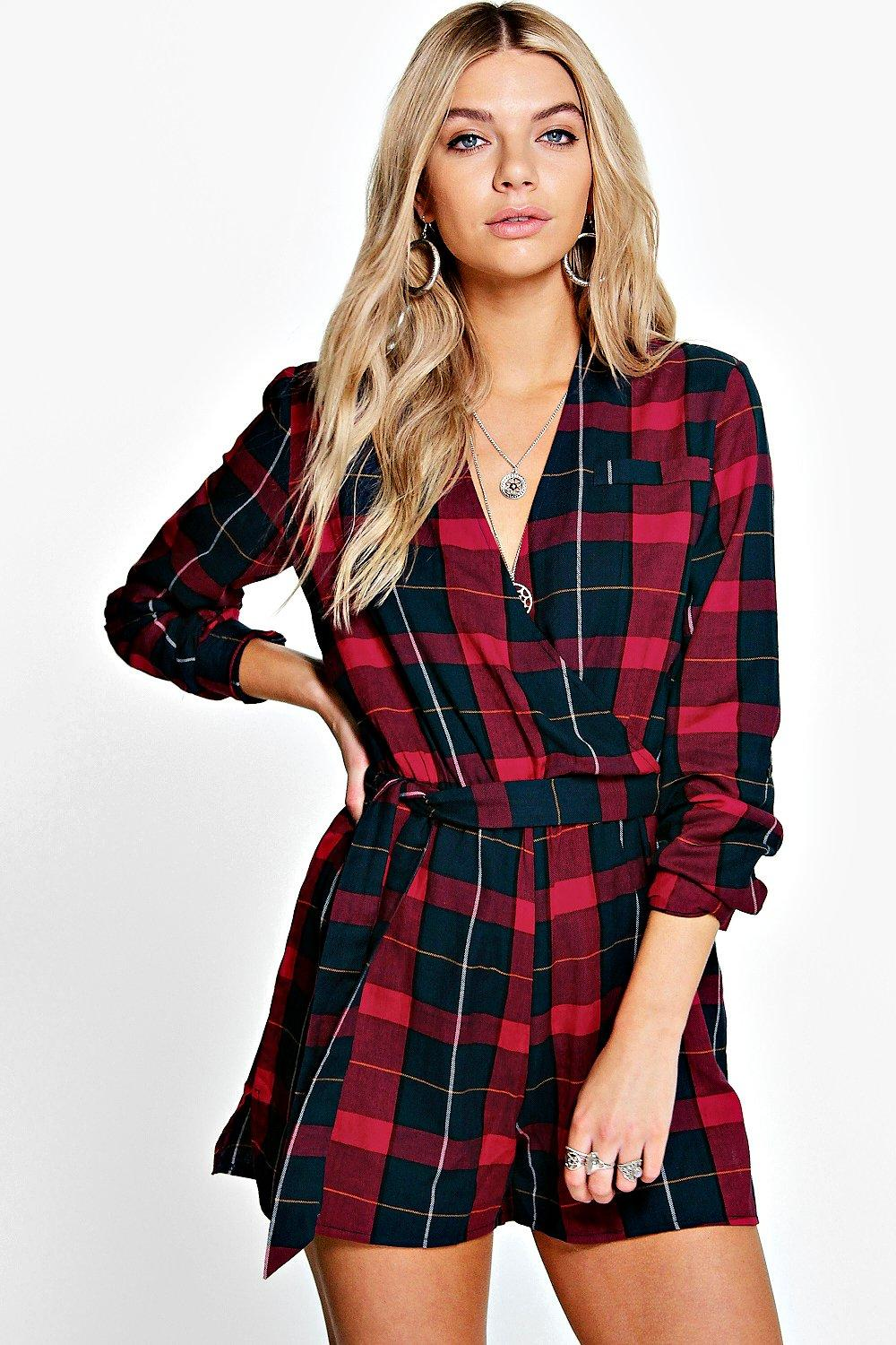 Janey Checked Belted Roll Sleeve Playsuit