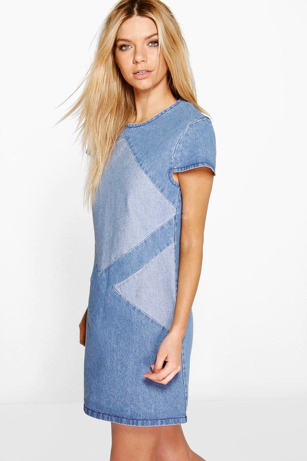 Mia Patchwork Denim Capped Sleeve Shift Dress