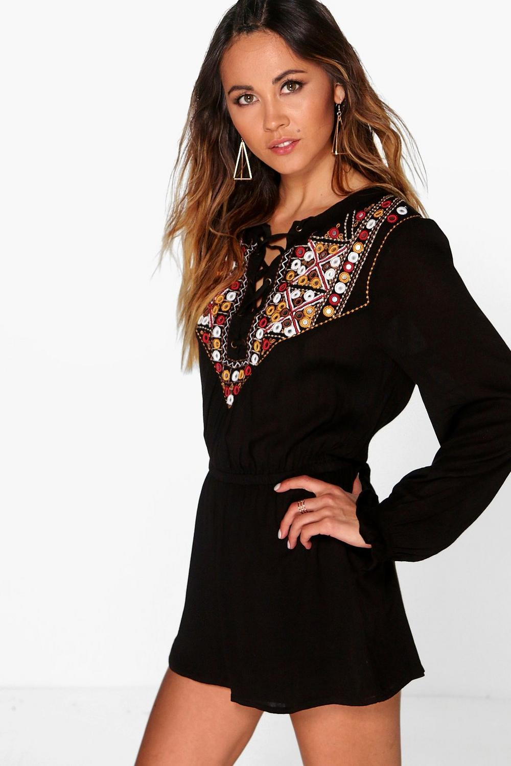 Boutique Bella Embroidered Smock Style Playsuit