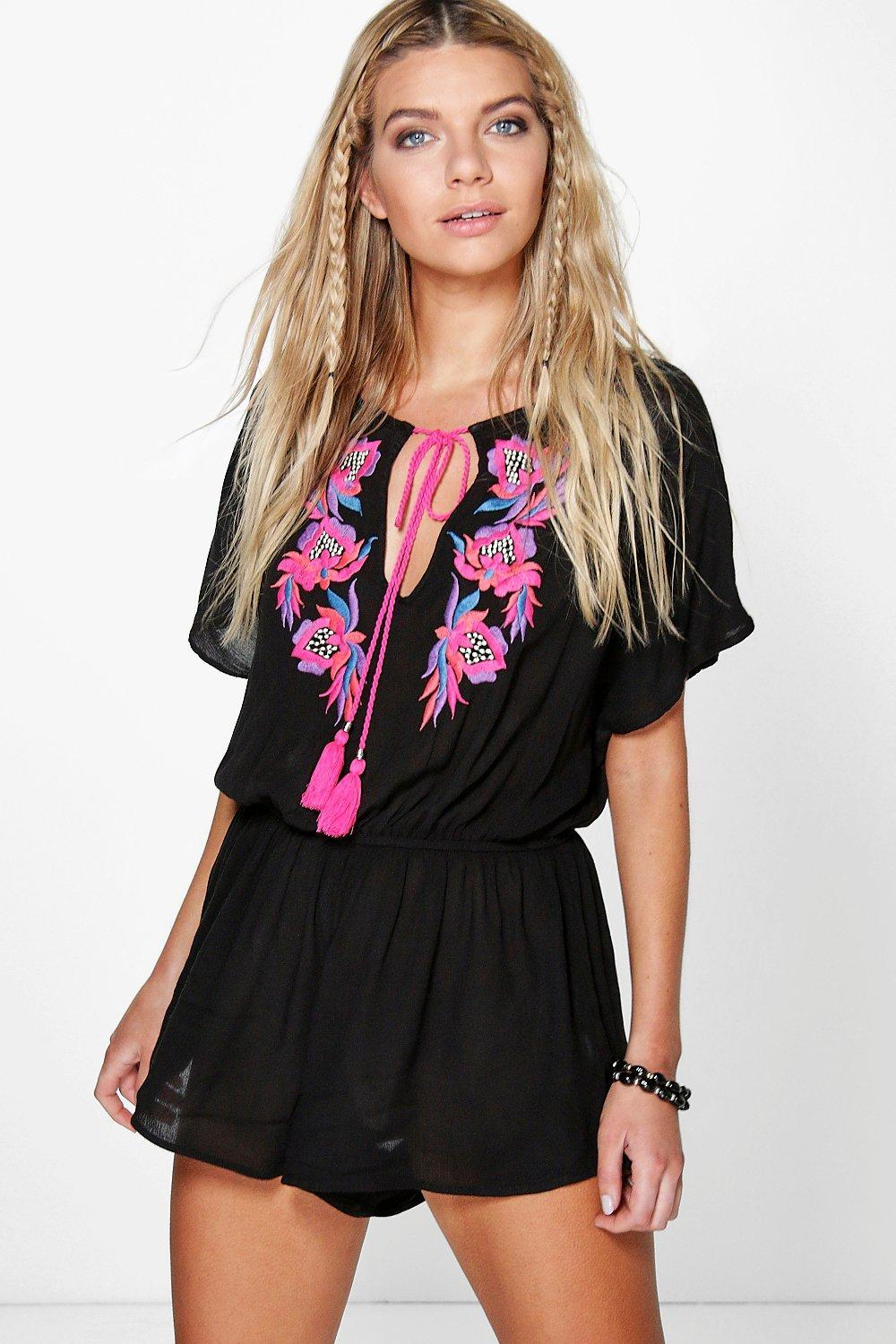 Jenni Embroidered Tassel Playsuit