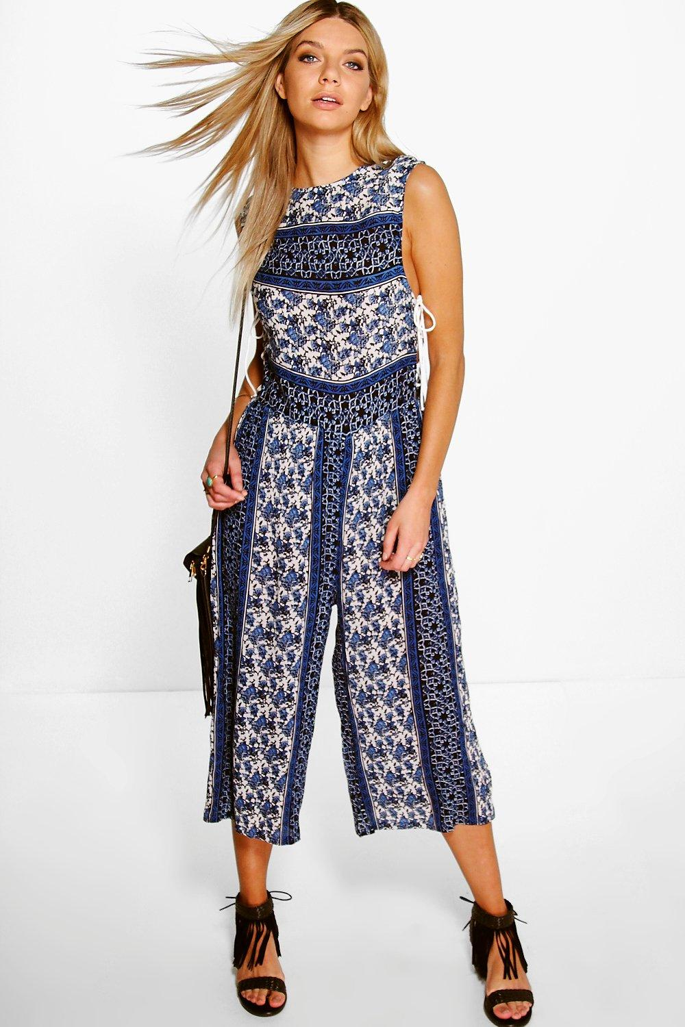 Lottie Blue Paisley Lace Up Side Culotte Jumpsuit