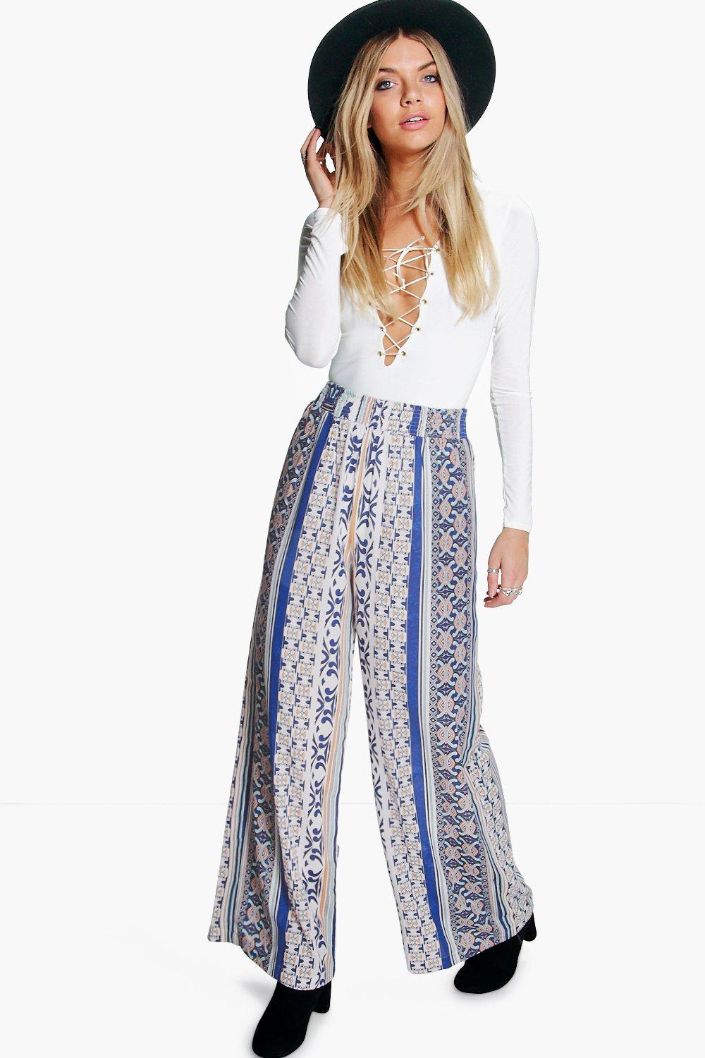 Haven Mixed Print Wide Leg Woven Trousers