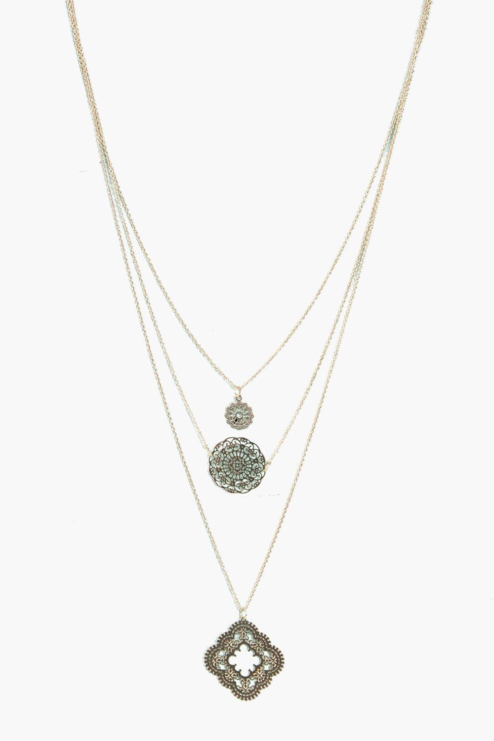 Kara Layered Filigree Pendant Necklace
