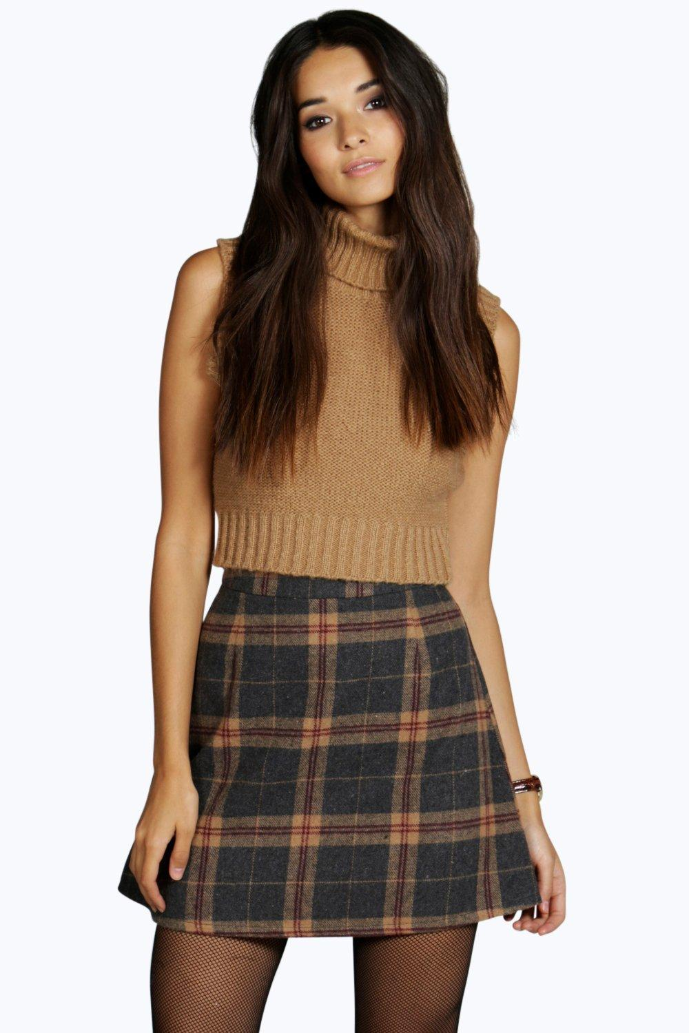 Amelle Woven Brushed Check A Line Mini Skirt at boohoo.com