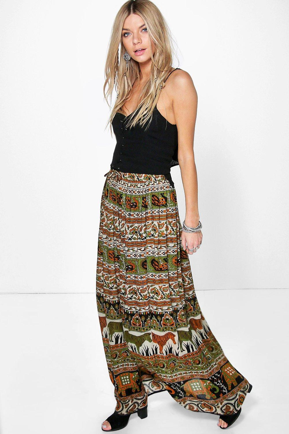 Ruby Animal Print Woven Maxi Skirt