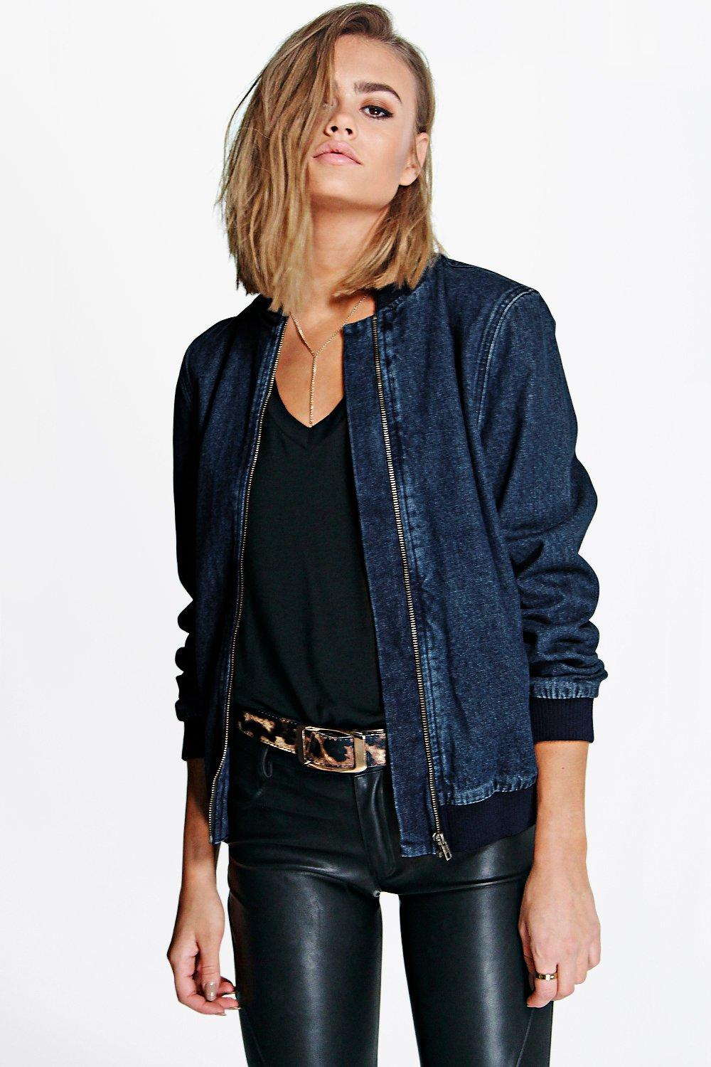Kaley Denim Bomber Jacket at boohoo.com
