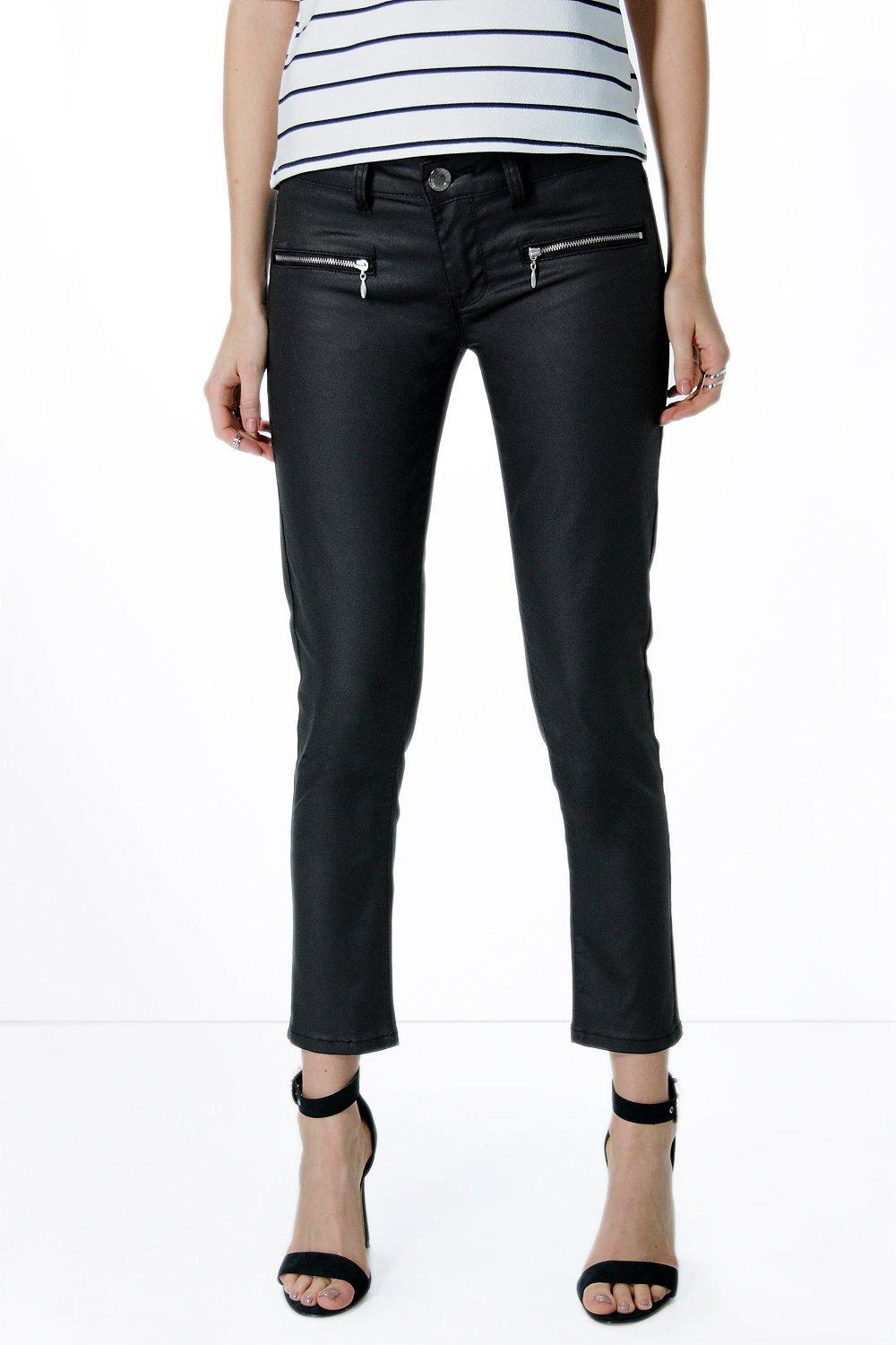 Nina Low Rise Coated Cropped Skinny Jeans