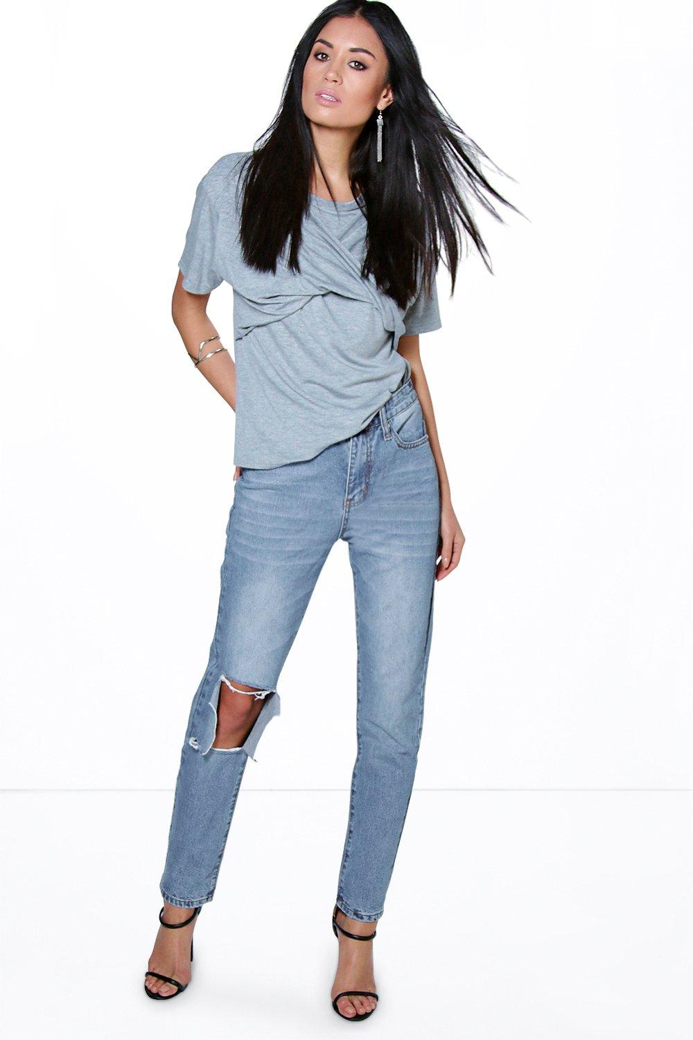 Lola Cropped Busted Knee Boyfriend Jeans