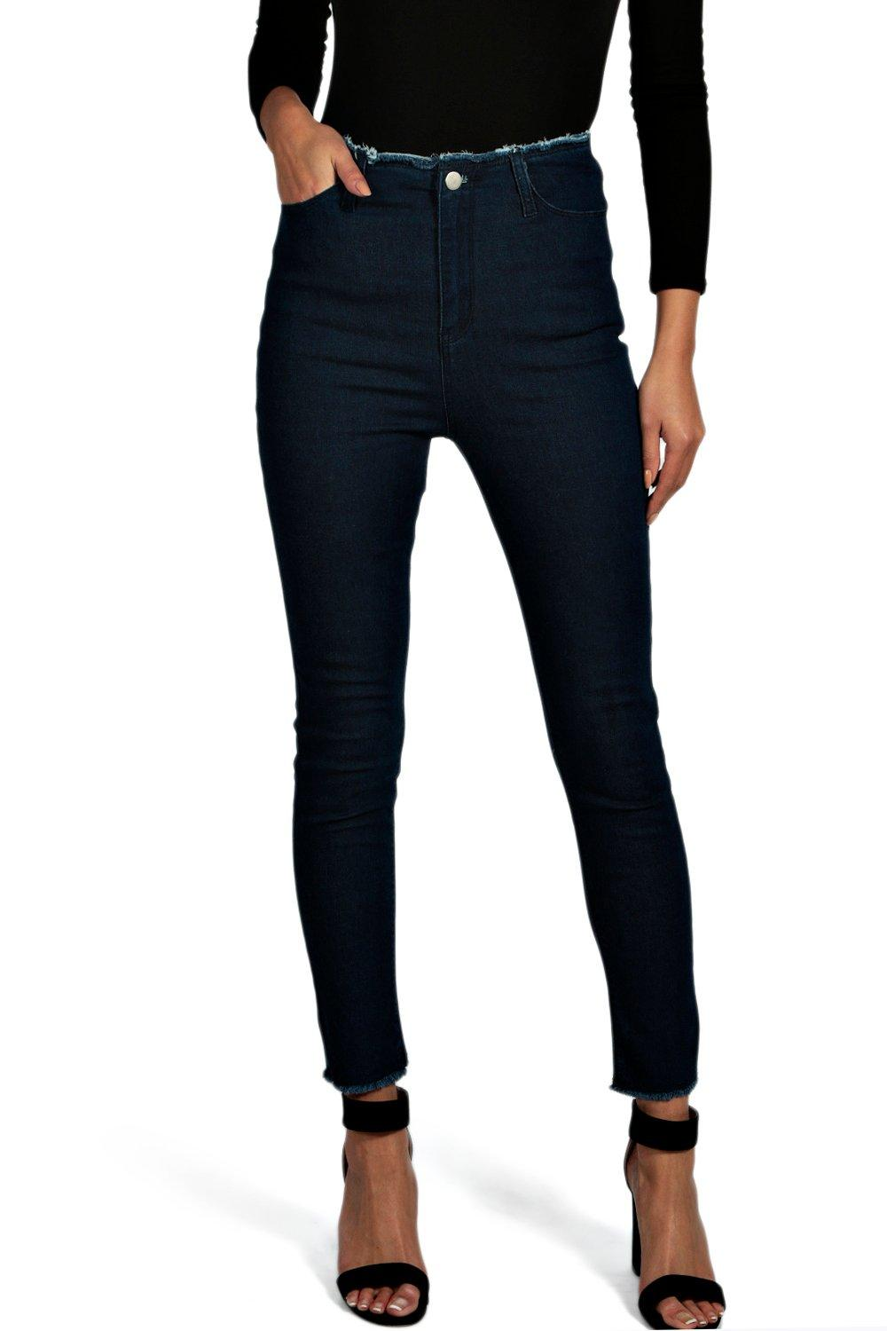 Julie High Rise Frayed Waist & Hem Skinny Jeans
