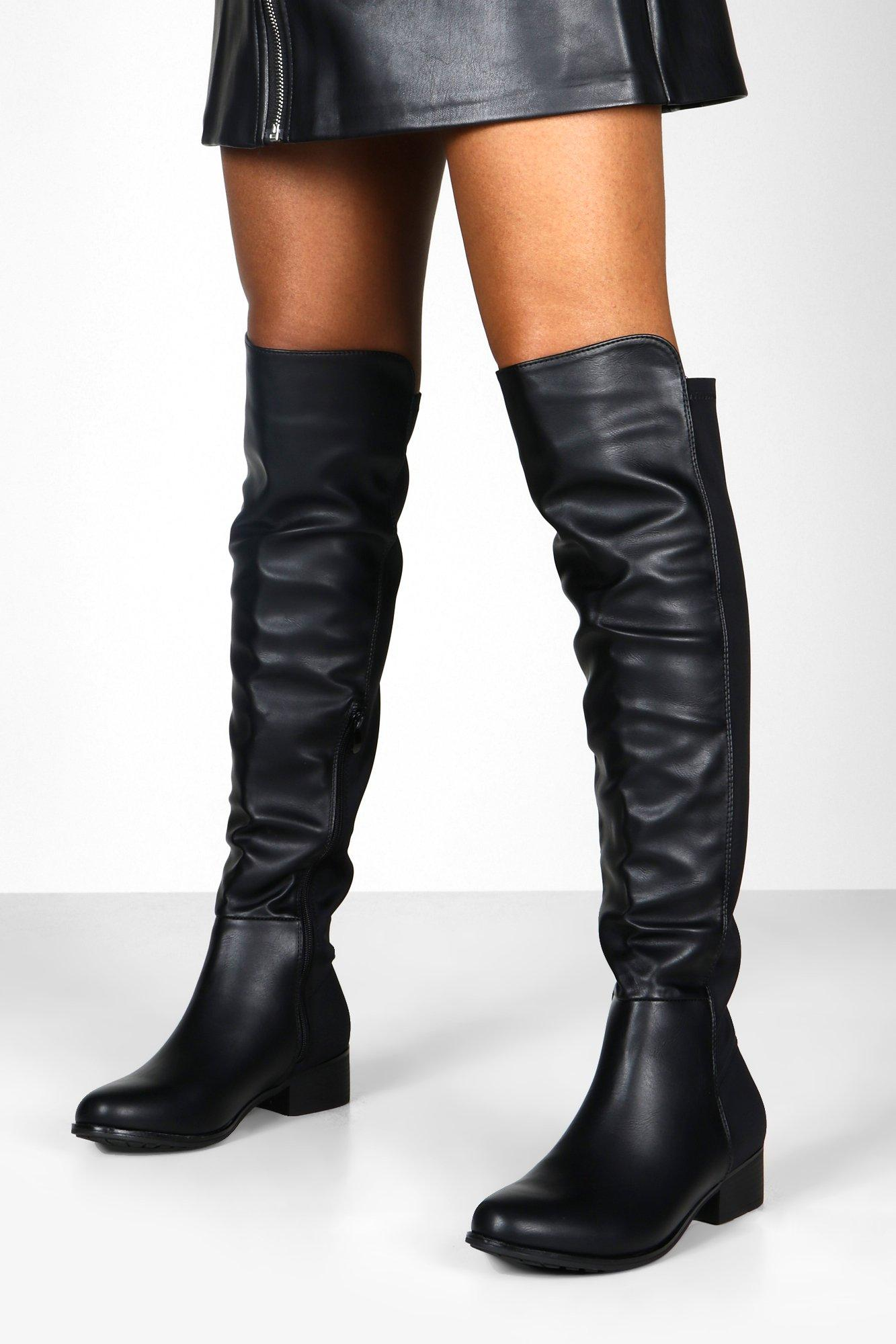 Wide Fit Elastic Back Flat Knee High Boots £ Pointed Peeptoe Thigh High Stretch Boots £ Thigh High Stretch Back Block Heel Boots £ Knee high & over the knee boots The underrated classic knee high boot can help you to take your outfit to the next level. Step fashion-forward with boohoo's collection that can help you.