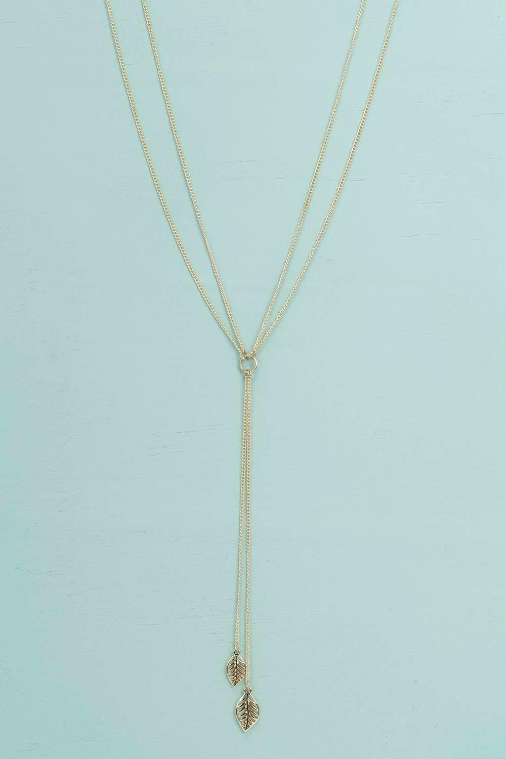 Keira Leaf Detail Plunge Necklace