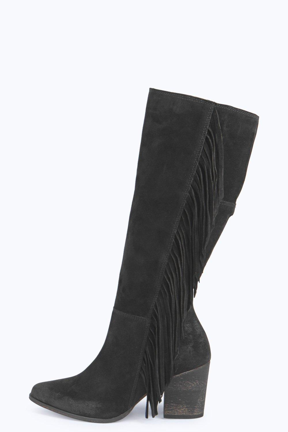 Boutique Isabel Leather Fringe Side Knee Boot