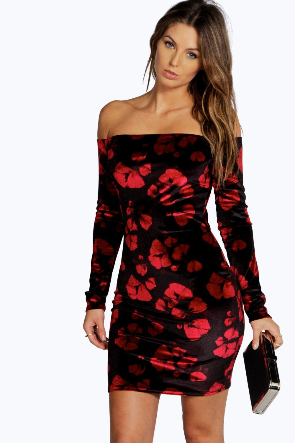 Nancy Floral Velvet Off Shoulder Bodycon Dress