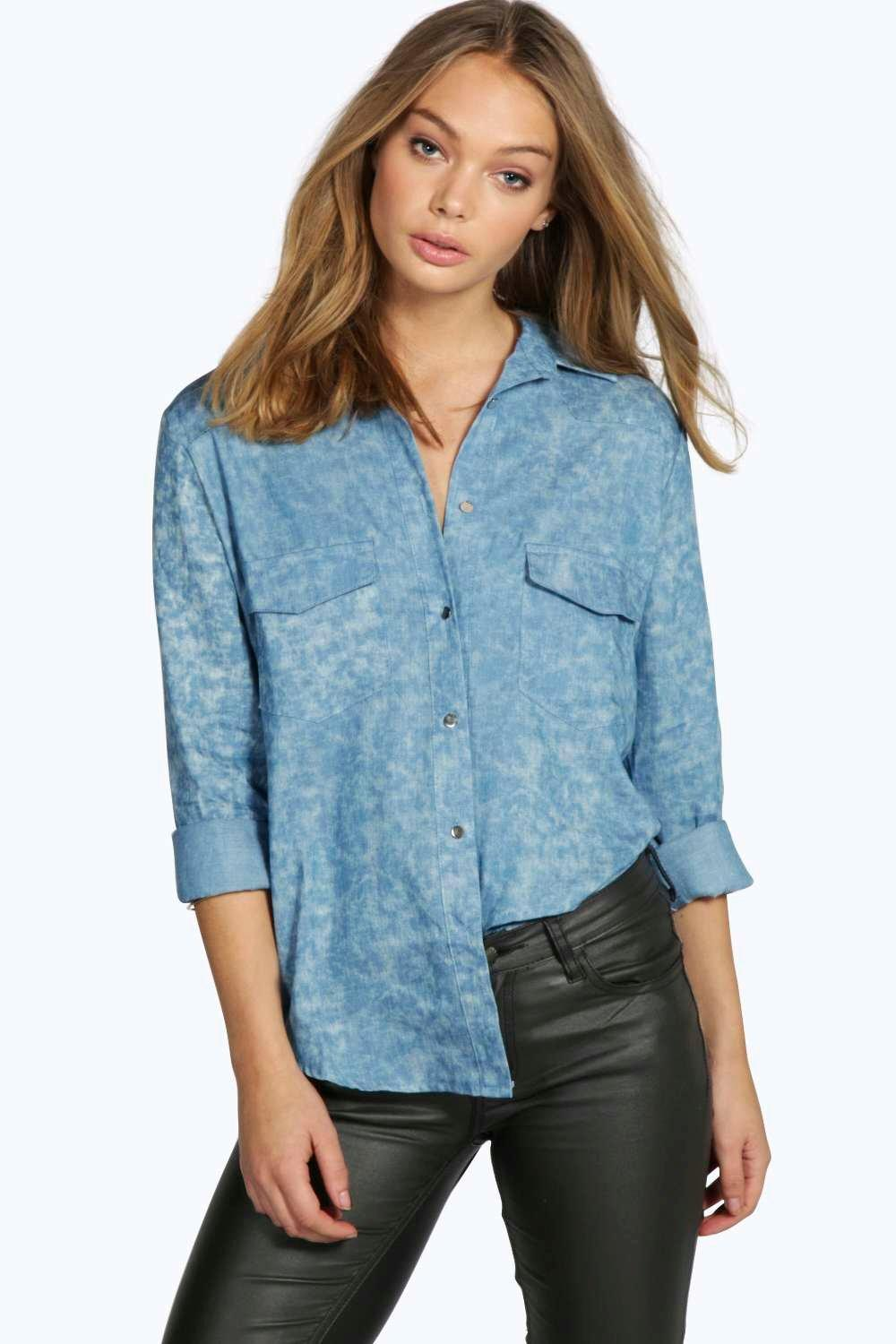 Emily Printed Denim Shirt