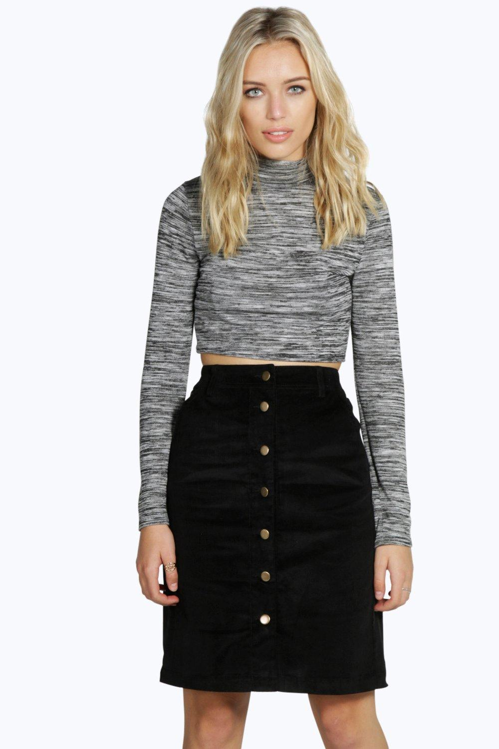 Lilo Cord Button Front Mini Skirt