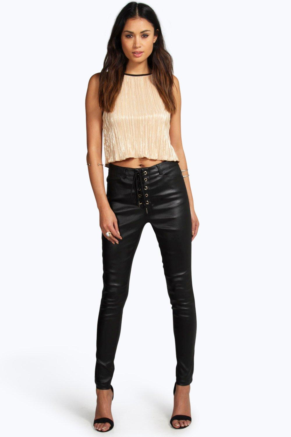 Giana Coated Lace Up Super Skinny Trousers