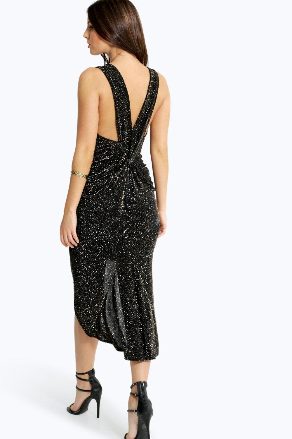 Samantha Glitter Twist Back Midi Dress