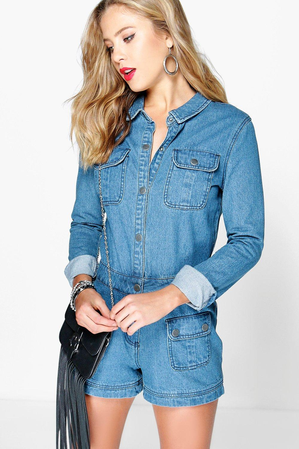 Robyn All In One Denim Utility Playsuit