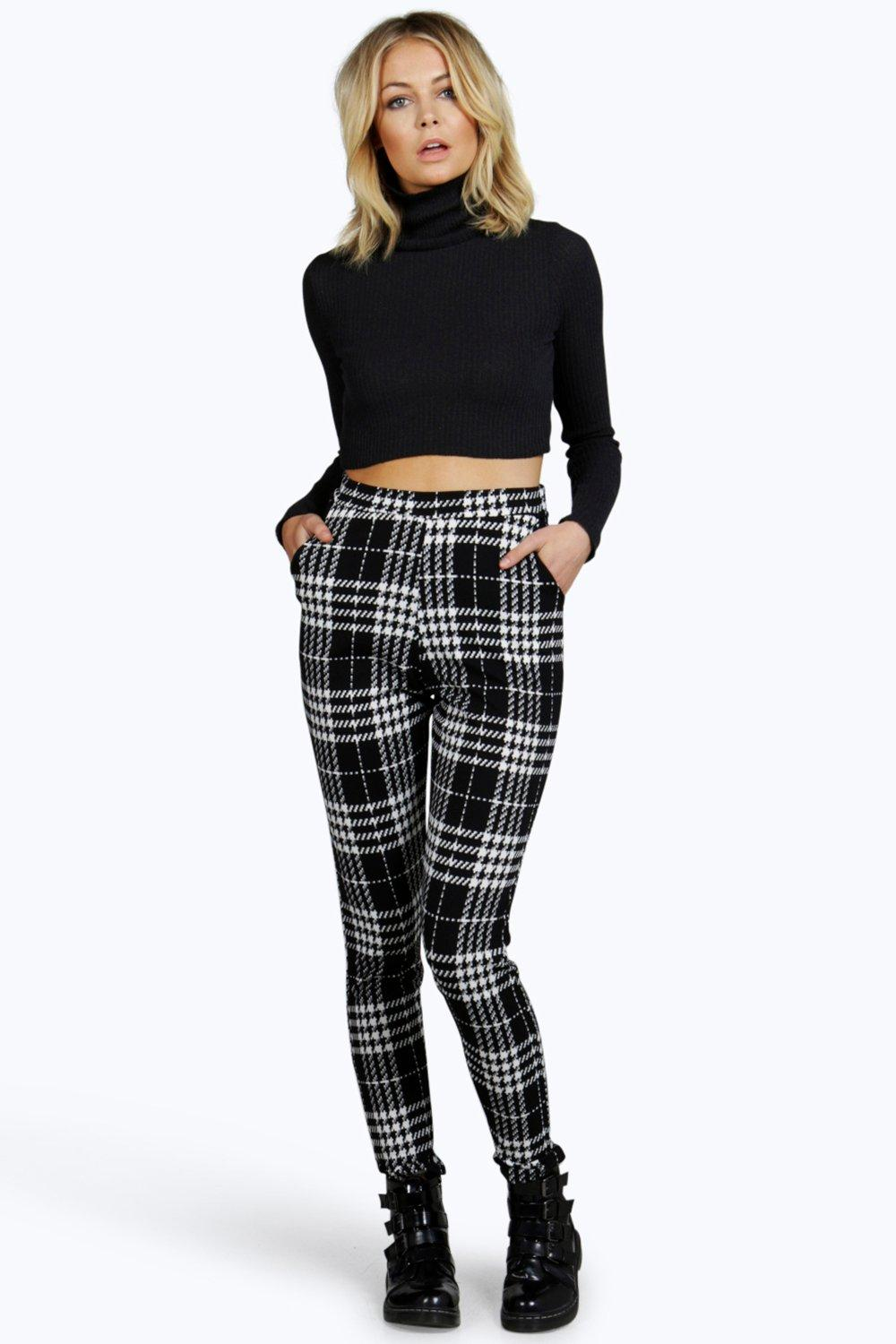 Tamora Dogtooth Check Skinny Trousers