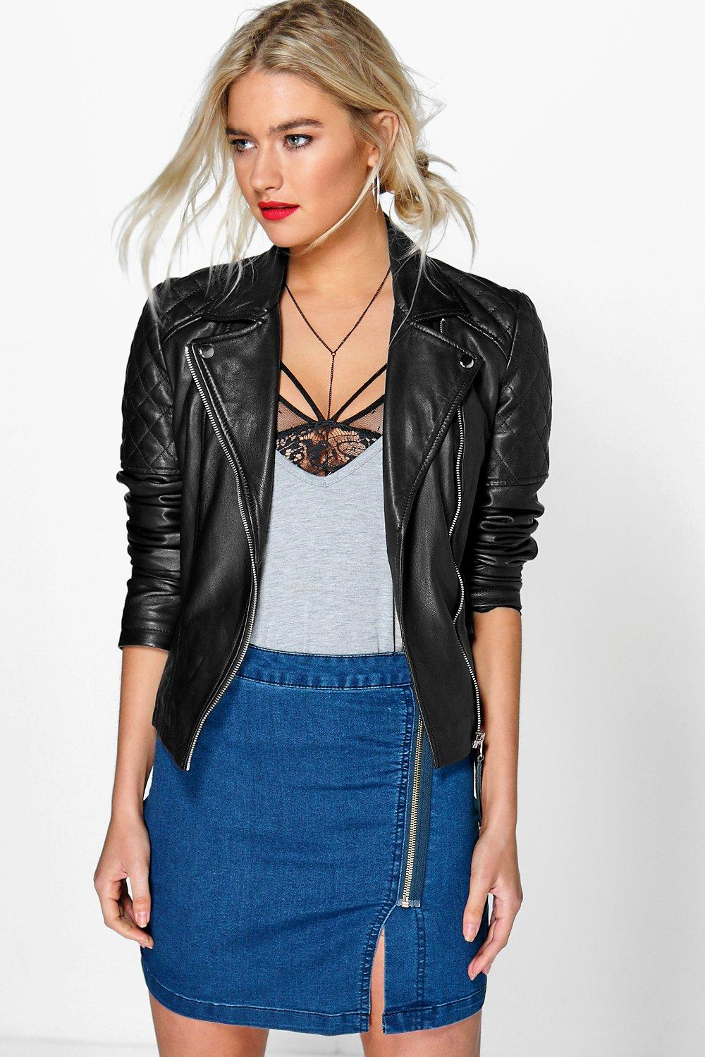 Annie Asymmetric Zip Denim Mini Skirt