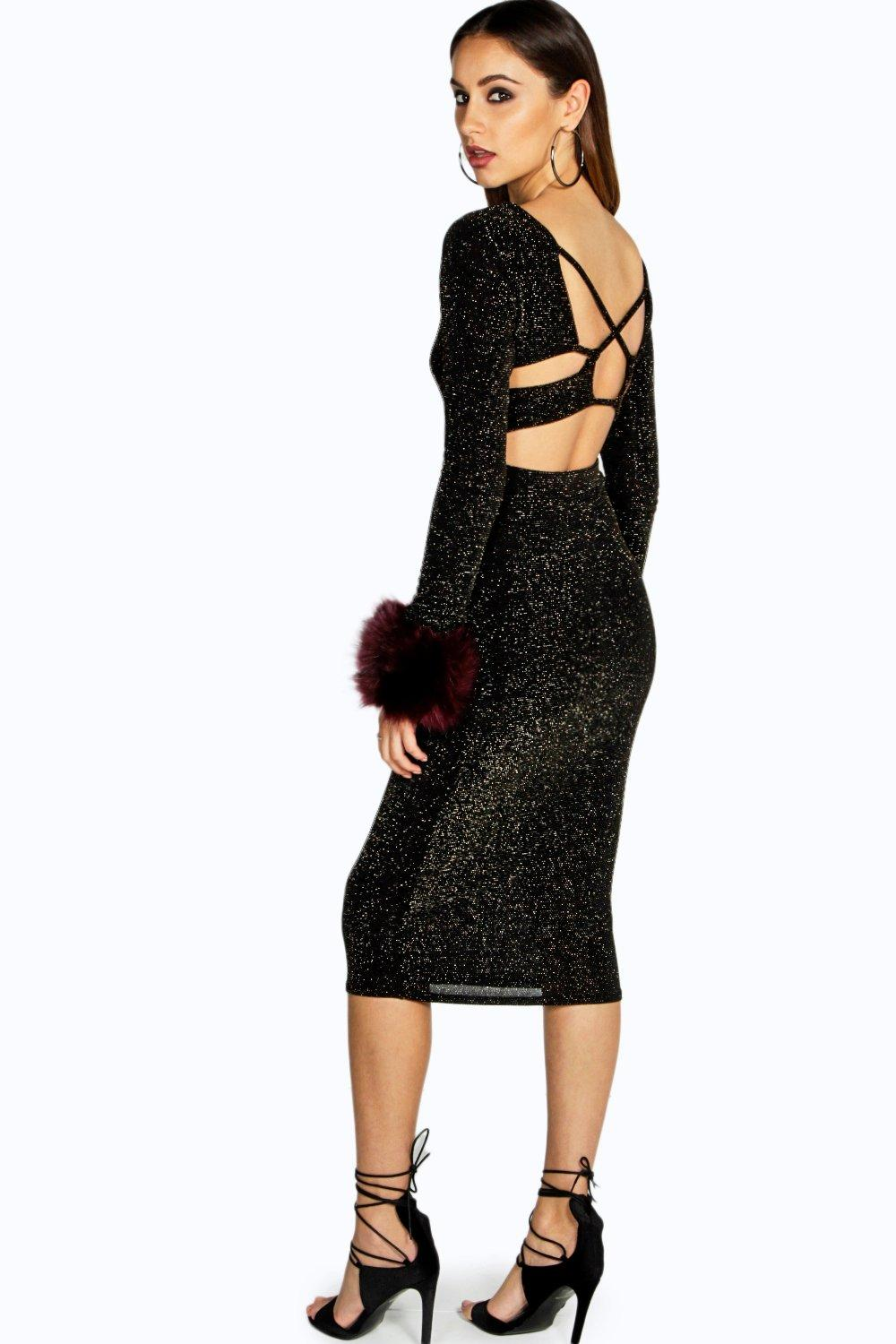 Naomi Strappy Back Sparkle Midi Dress