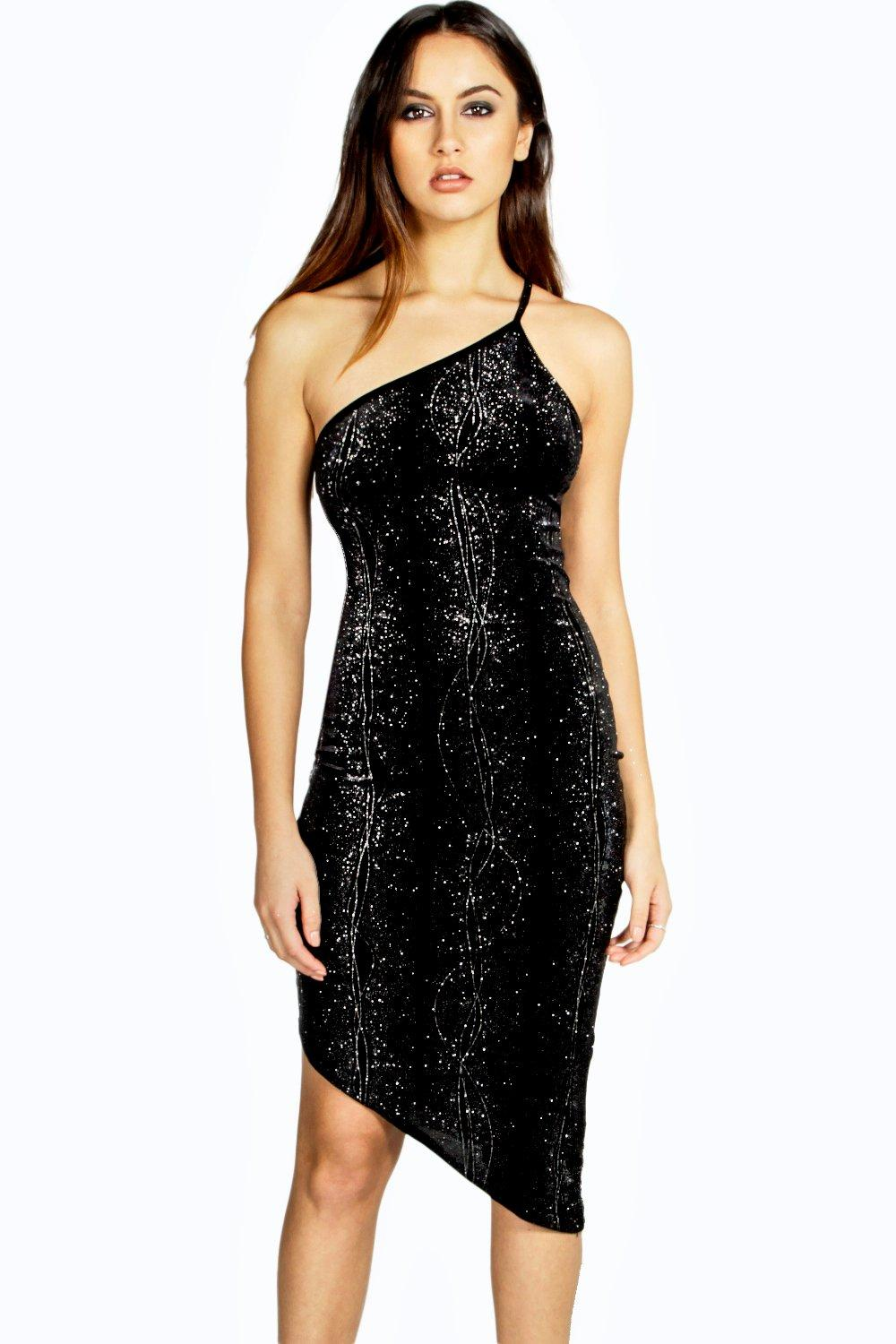 Tia Sparkle Velvet One Shoulder Dress