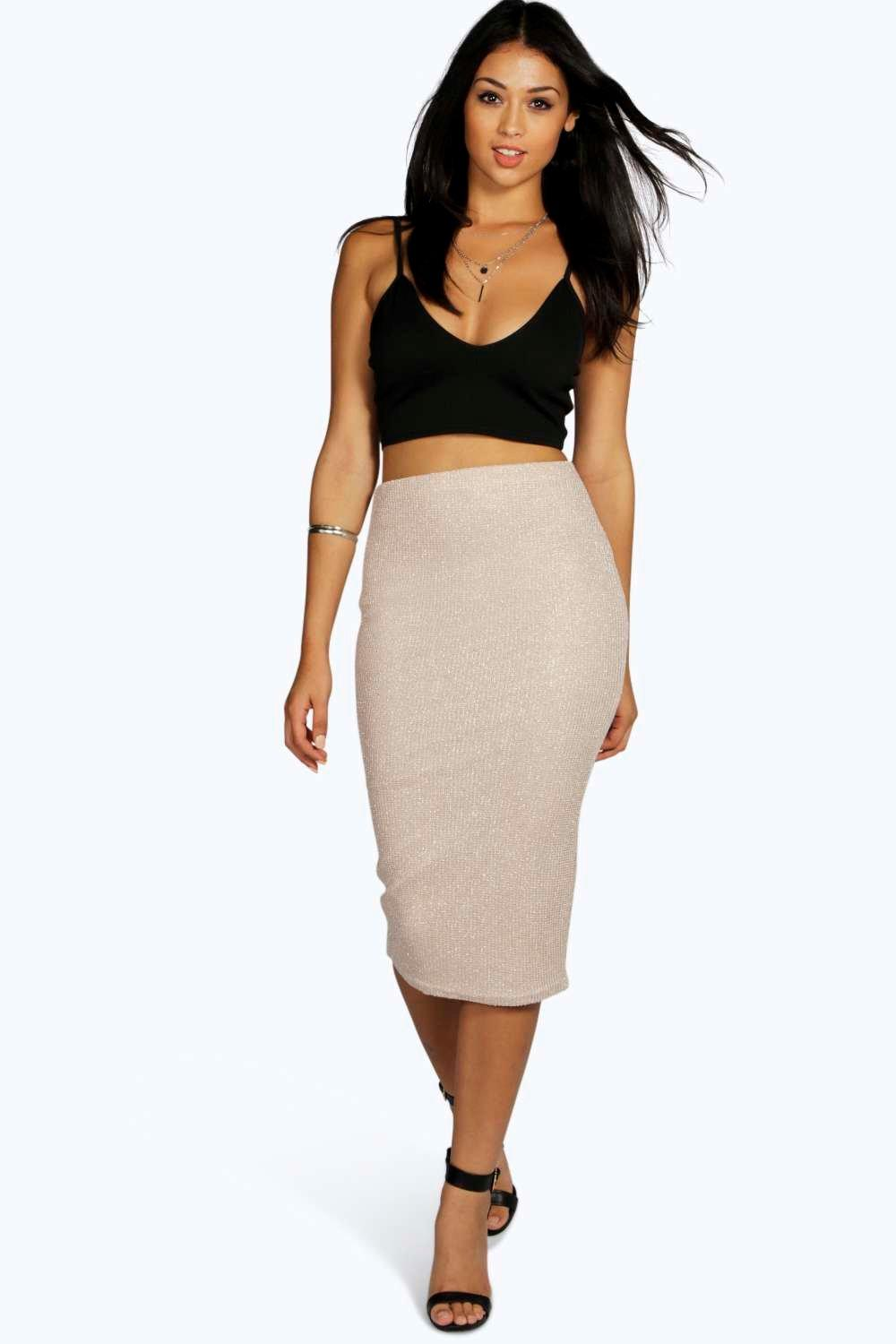 India Metallic Knit Midi Skirt at boohoo.com