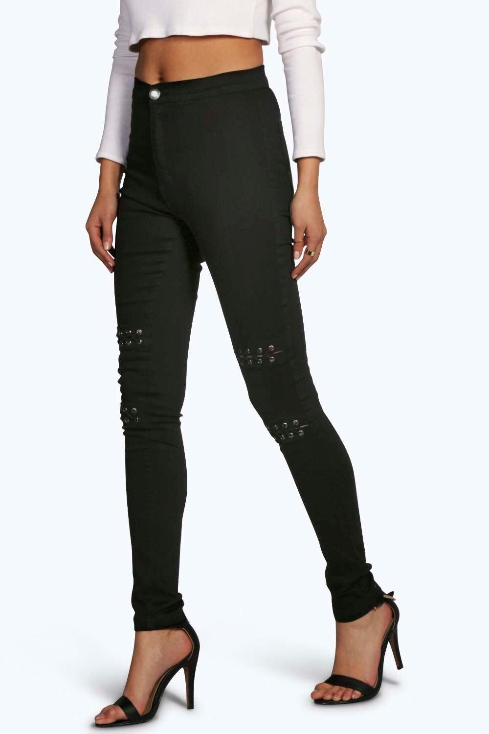Boutique Nina Low Rise Eyelet Detail Skinny Jeans