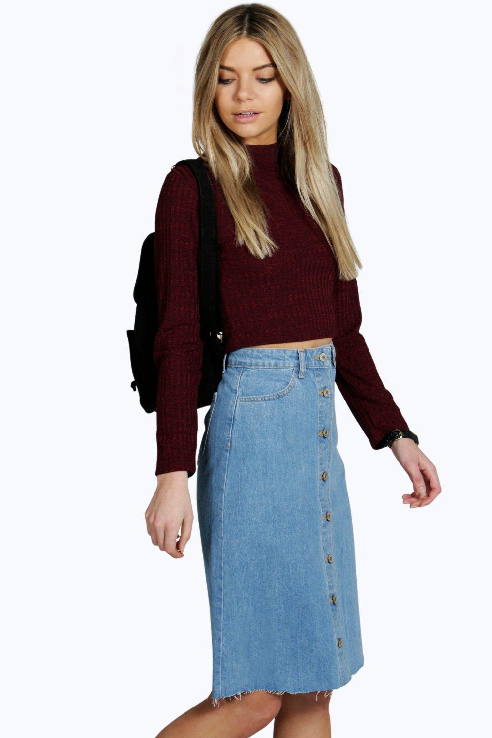 Helen Raw Hem Button Through Denim Midi Skirt