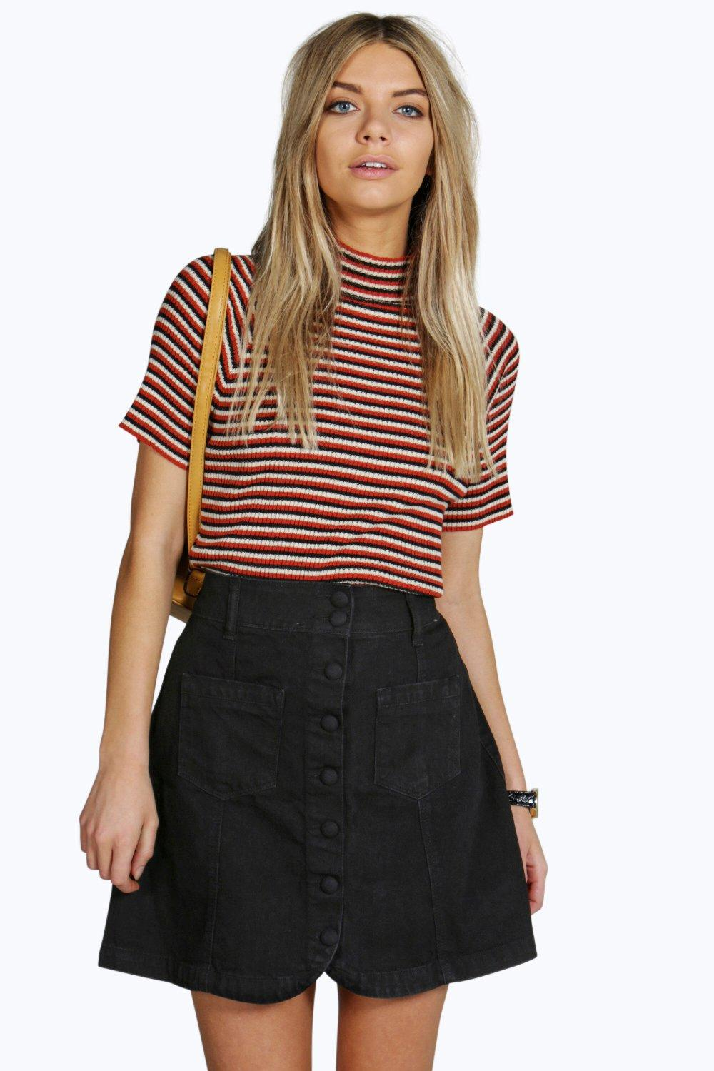 Rachel Curved Hem Patch Pocket Denim Skirt