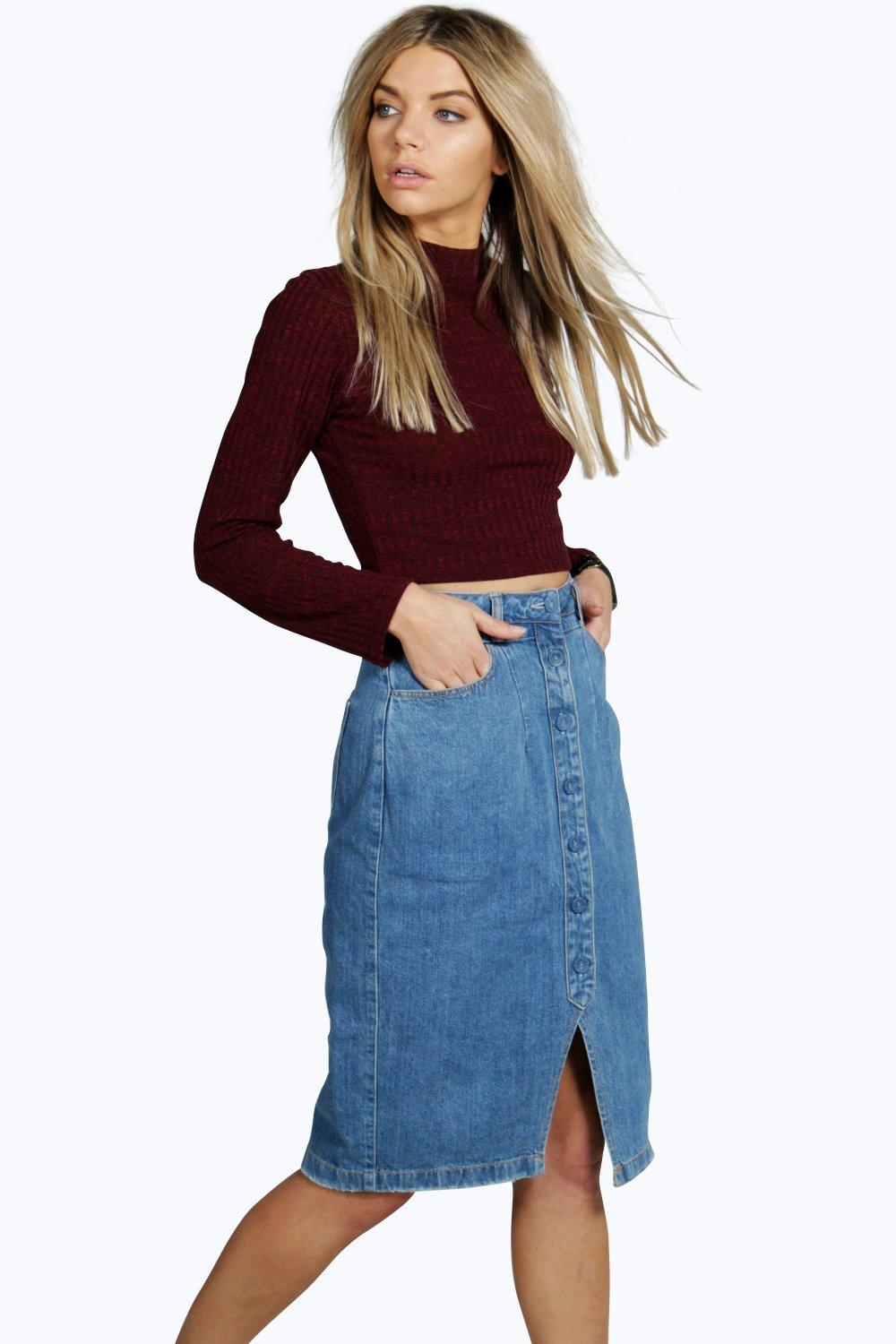 Julia Placket & Waist Detail Denim Midi Skirt