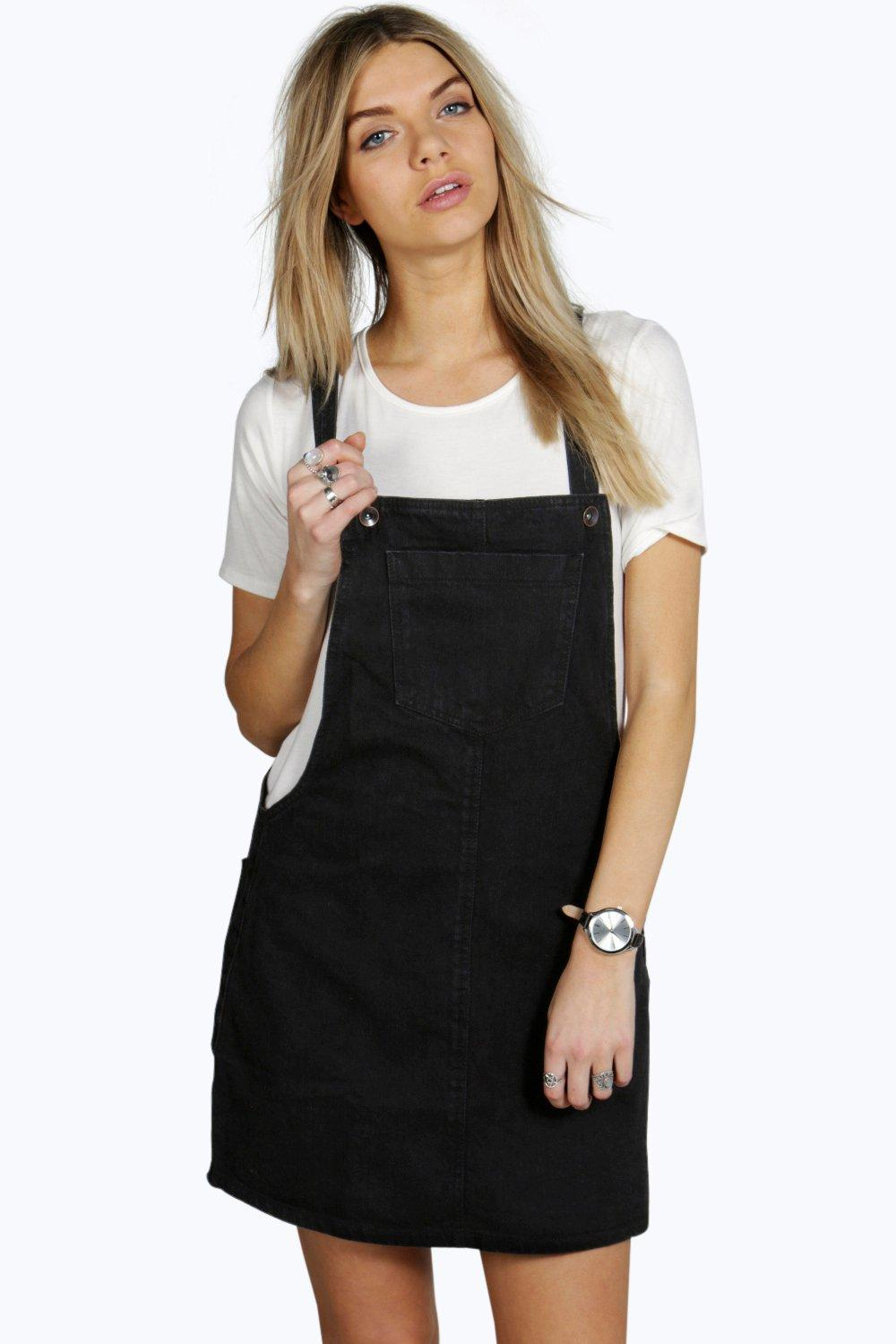 Holly Clean Cut Denim Pinafore Dress