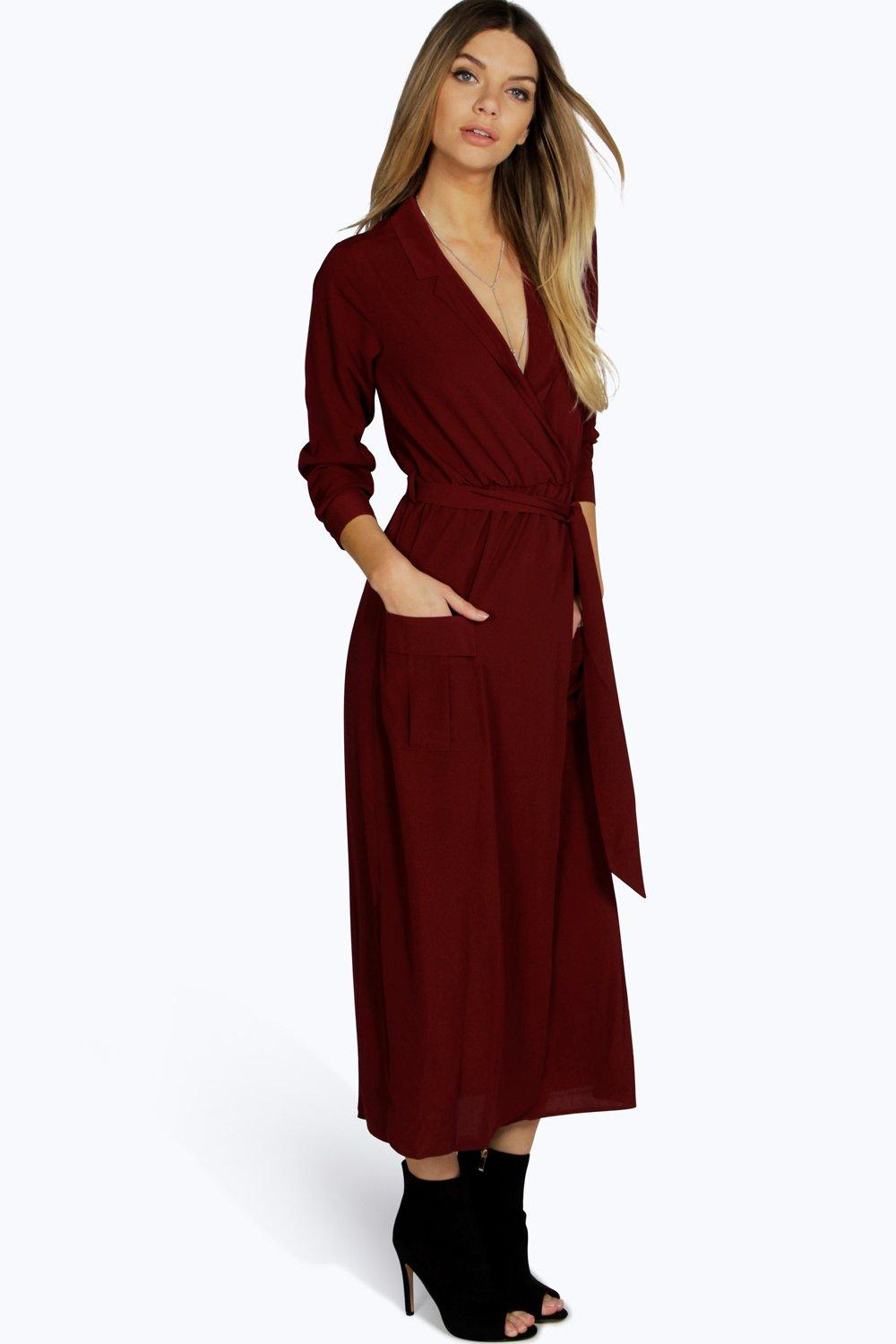Lorraine long sleeve pocket front shirt dress at for Boohoo dresses for weddings
