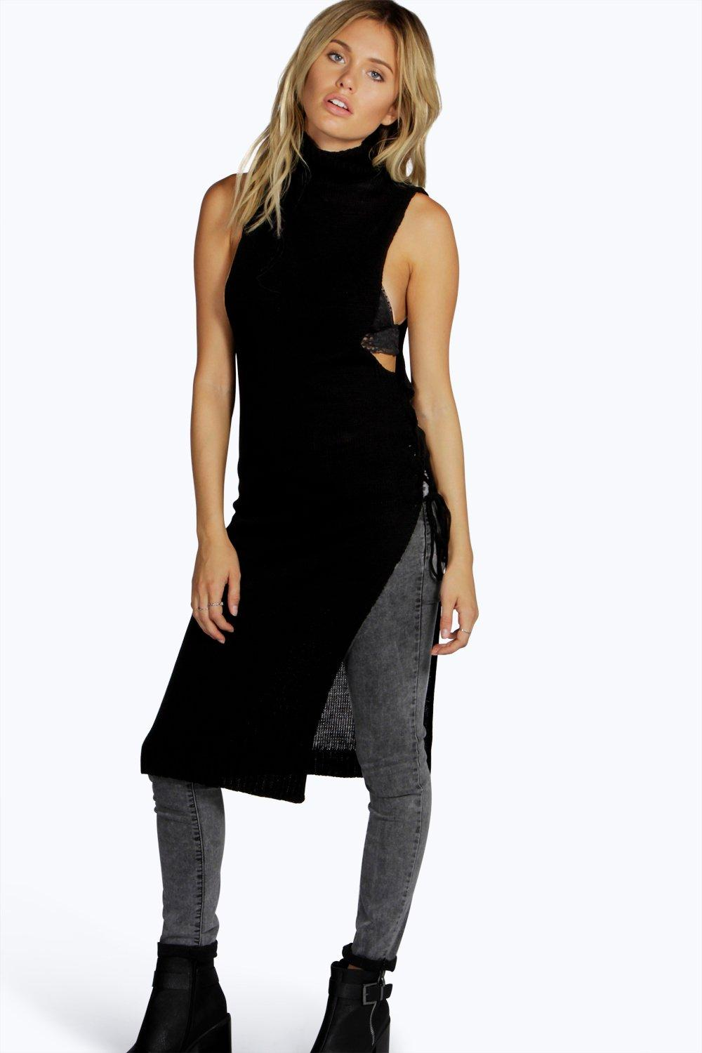 Lina Lace Up Funnel Neck Tunic Jumper