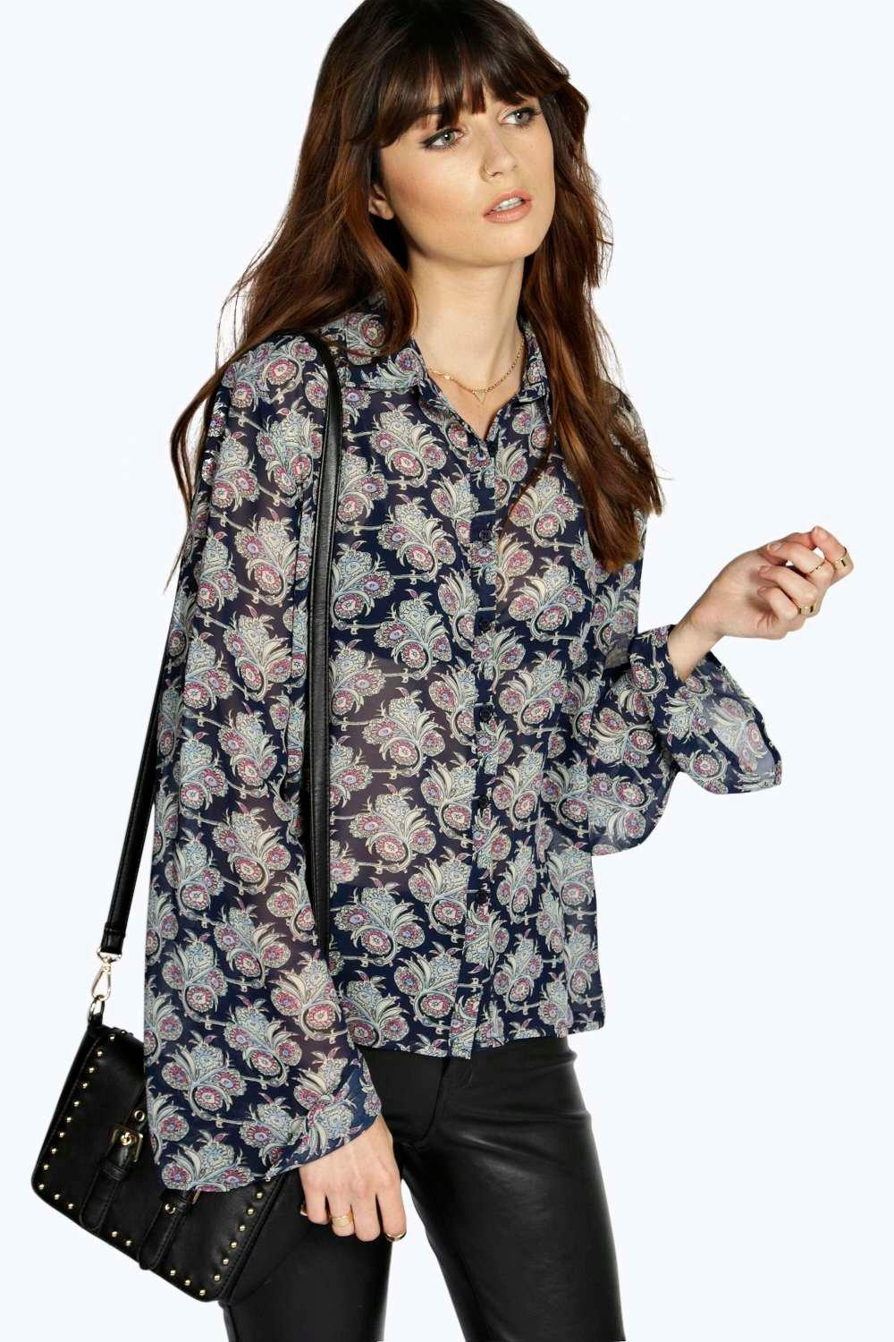 Anna Floral Print Open Back Fluted Sleeve Blouse
