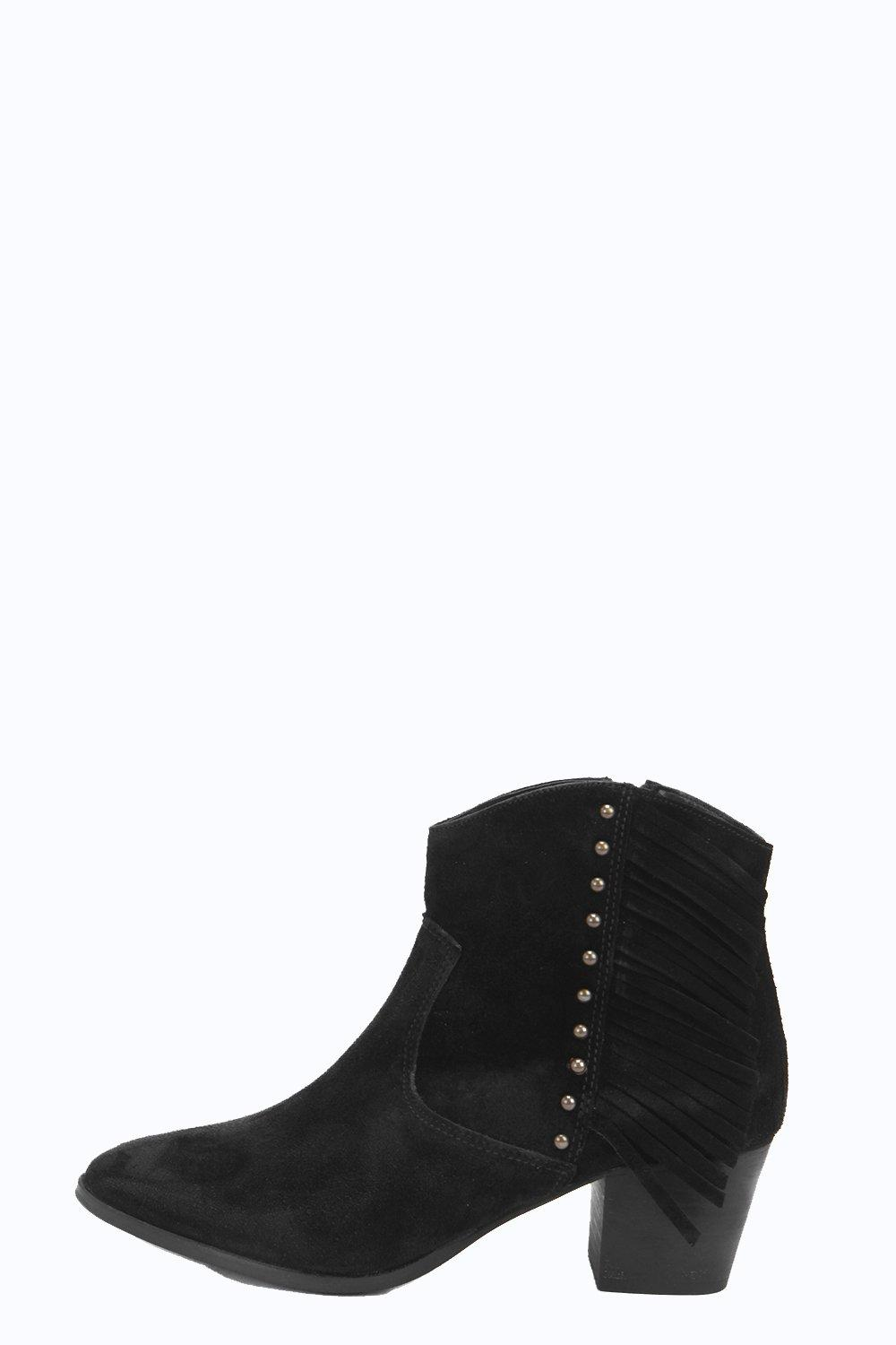 Boutique Amy Fringe And Stud Suede Western Boot