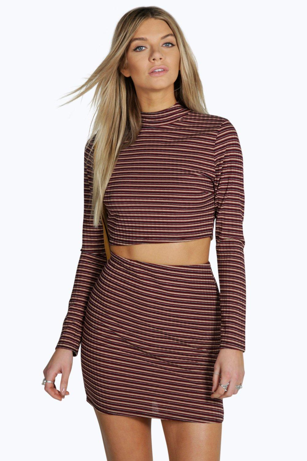 Julie High Neck Stripe Mini Skirt Co-Ord Set
