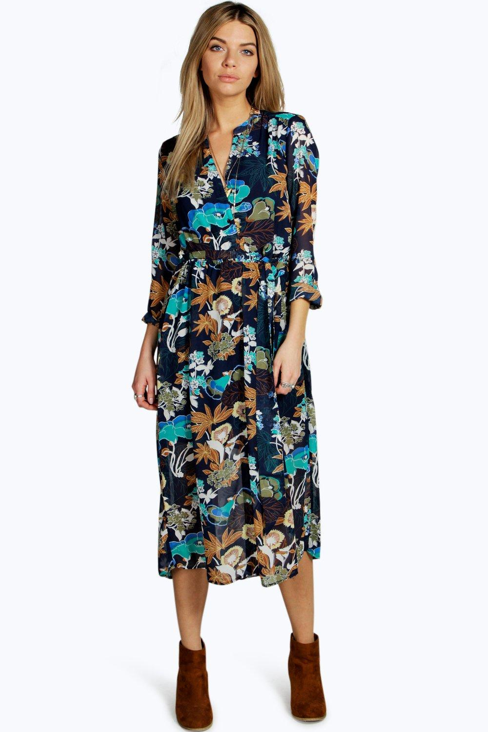 Florence Floral Tie Wrap Shirt Dress At