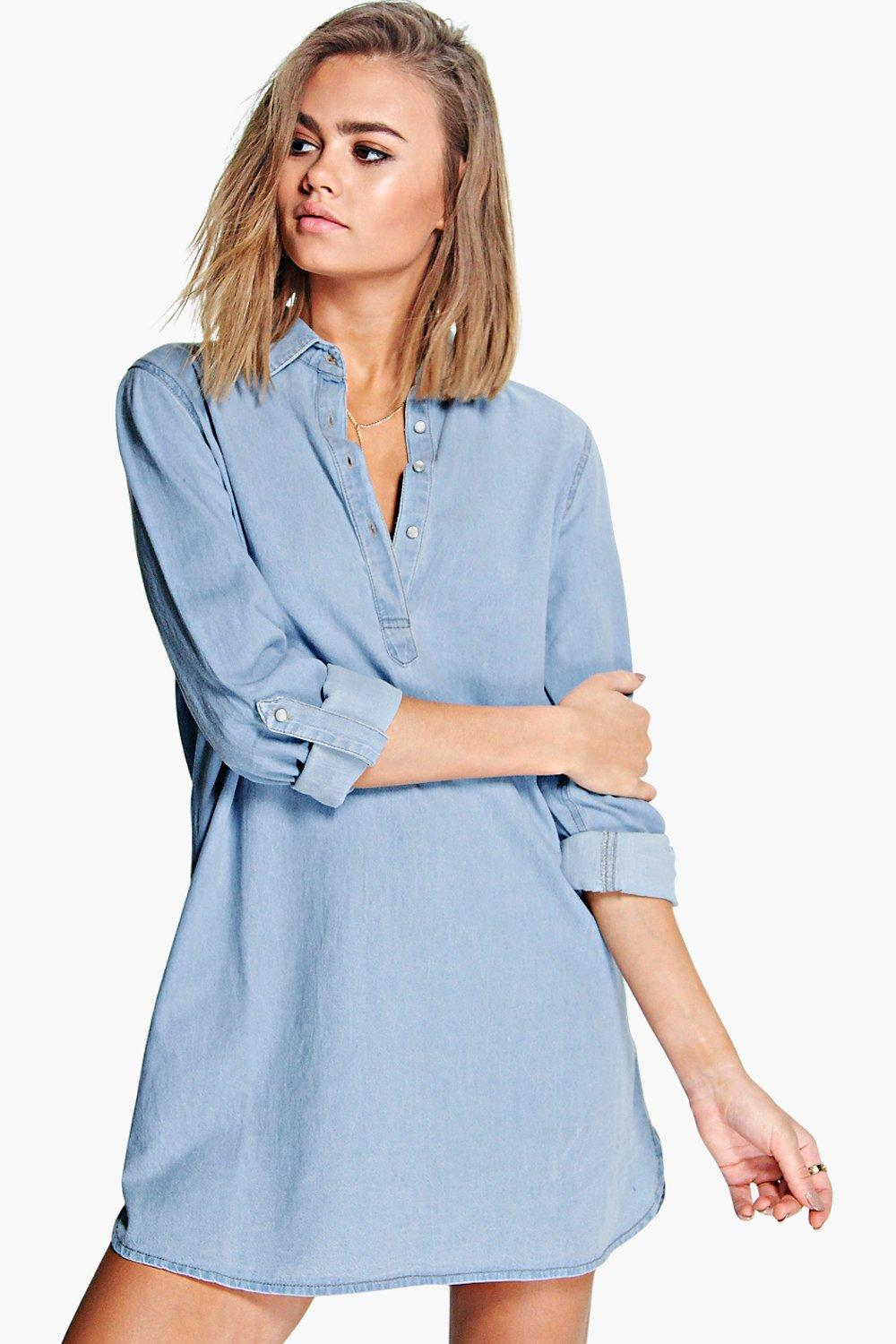 Tori Roll Sleeve Denim Curve Hem Shirt Dress