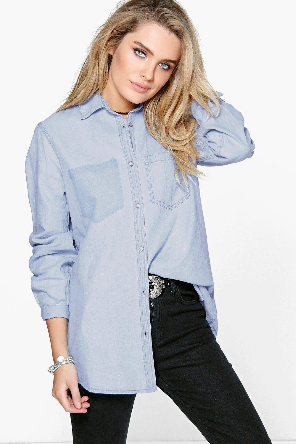 Kaley Slim Fit Distressed Pocket Denim Shirt