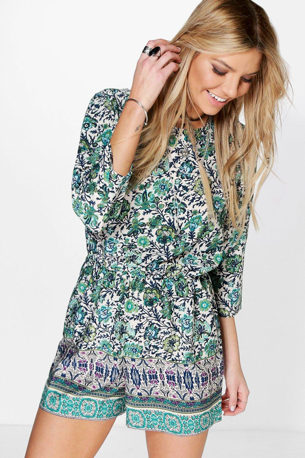 Jane Floral Print Border Playsuit
