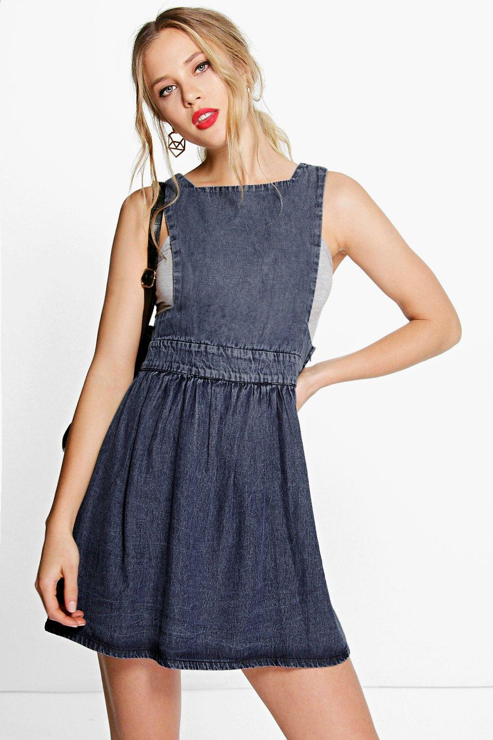 Deliah Denim Pinafore Dress