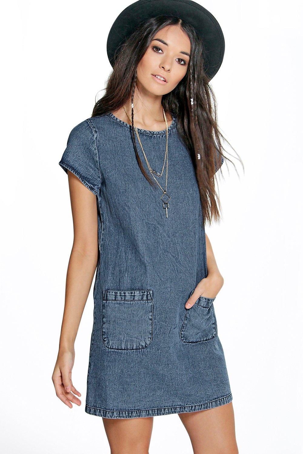 Jade Oversized Pocket Front Denim Dress