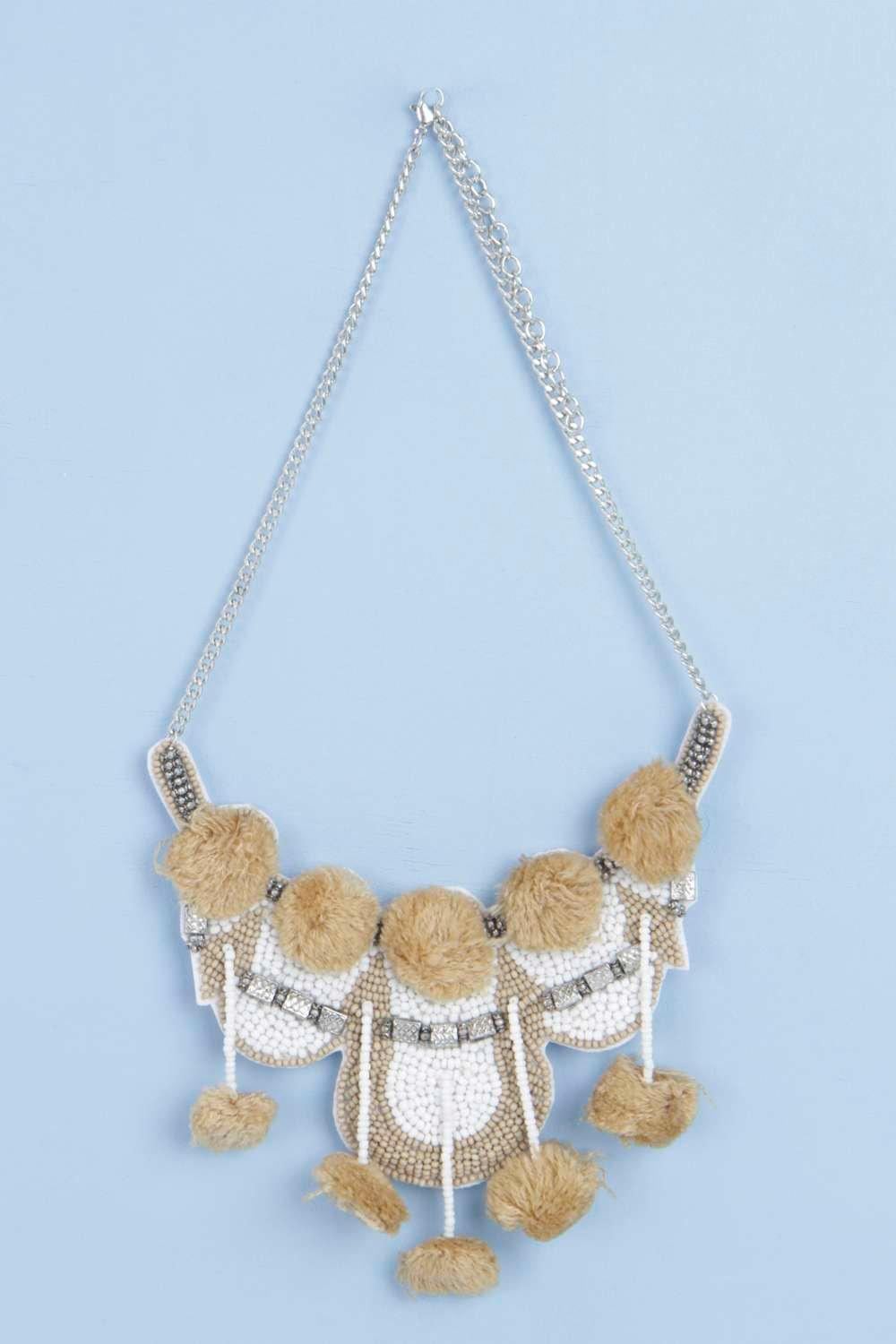 Boutique Eva Beaded And Pom Pom Necklace