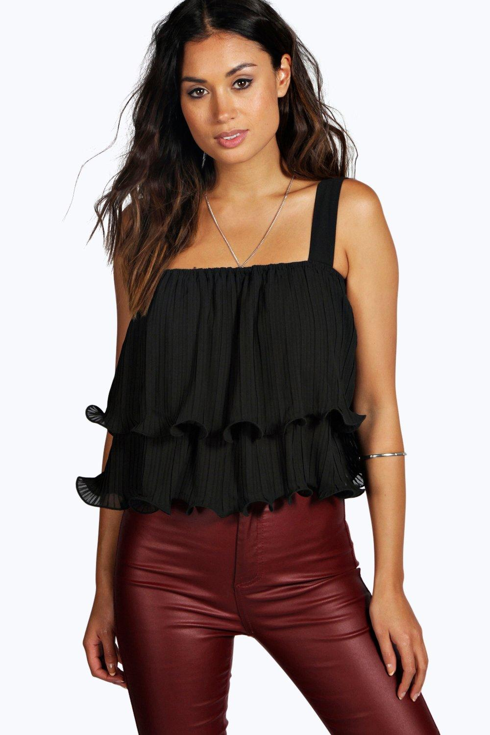 Katie Pleat Detail Frill Cami Top