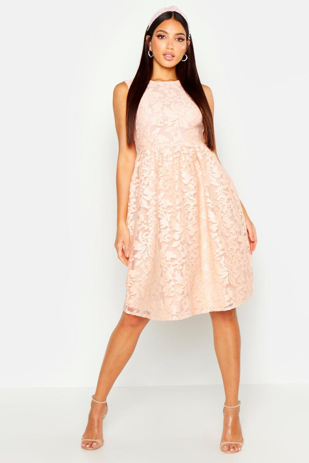 Boutique aria embroidered organza skater dress at for Boohoo dresses for weddings