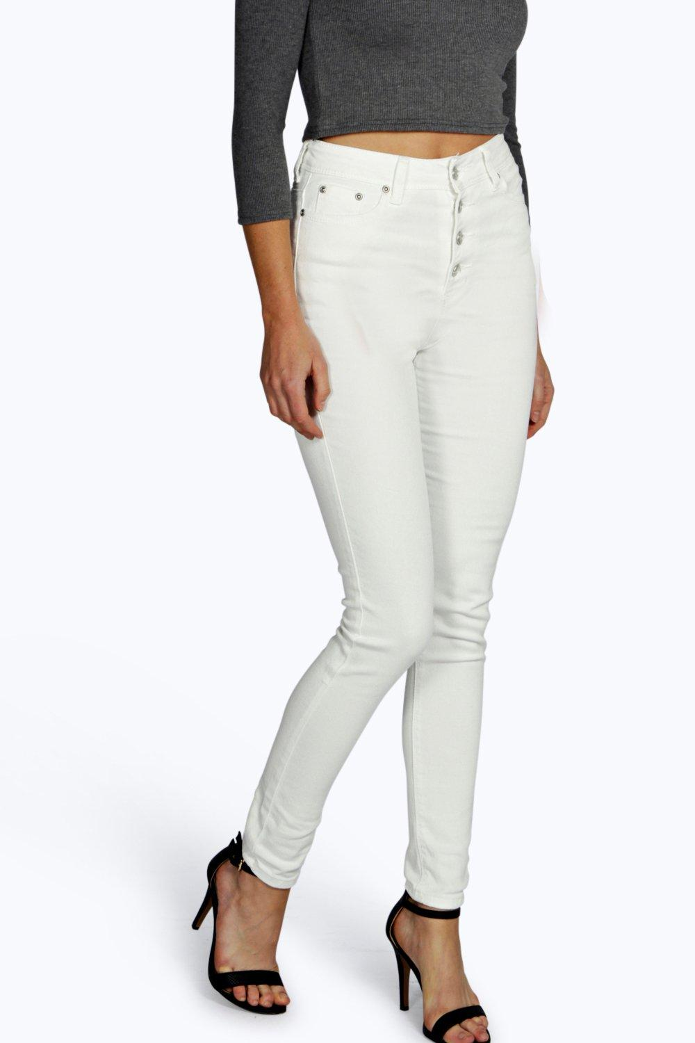 Abby High Rise Button Front Skinny Jeans