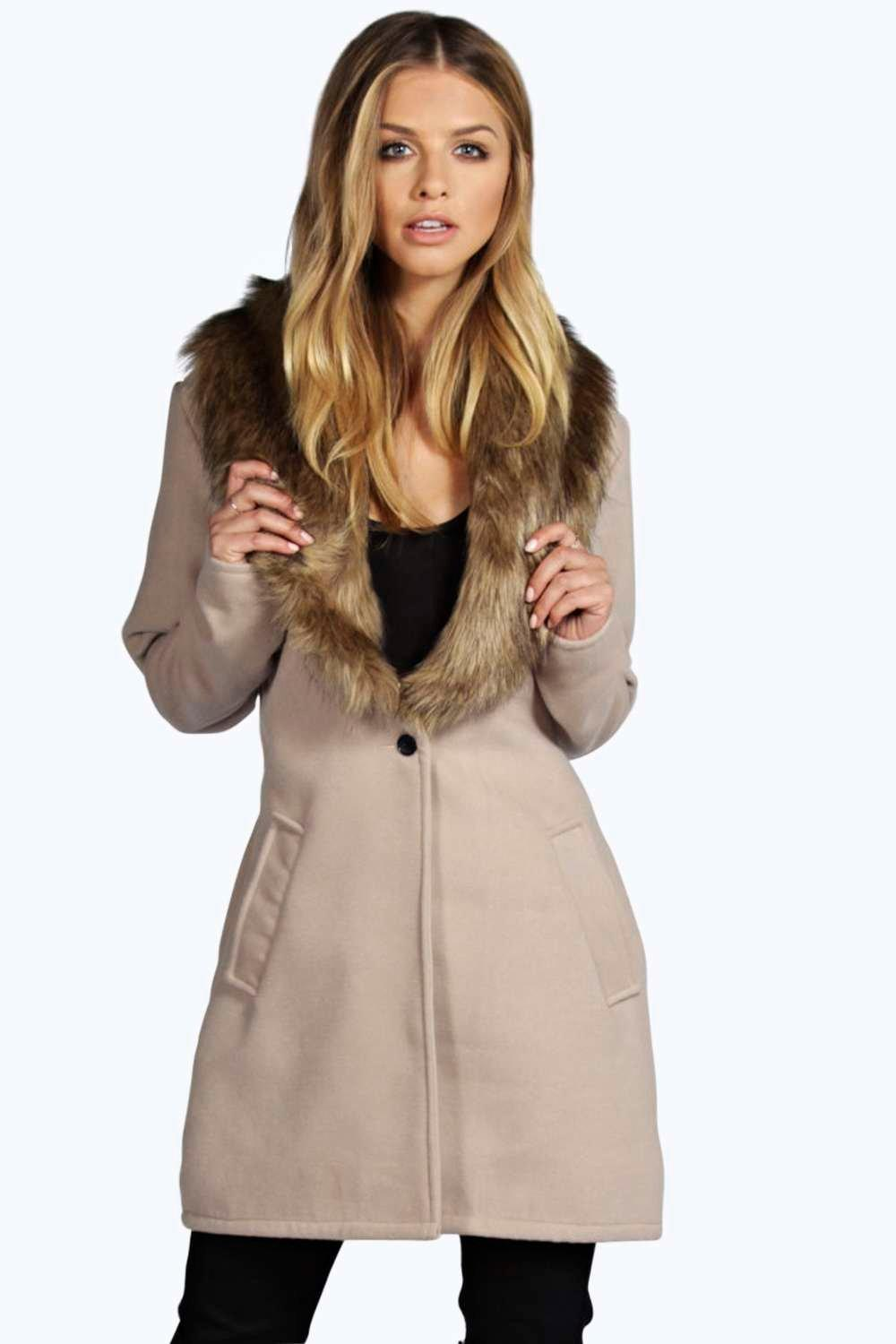 Ellie Shawl Faux Fur Collar Coat at boohoo.com