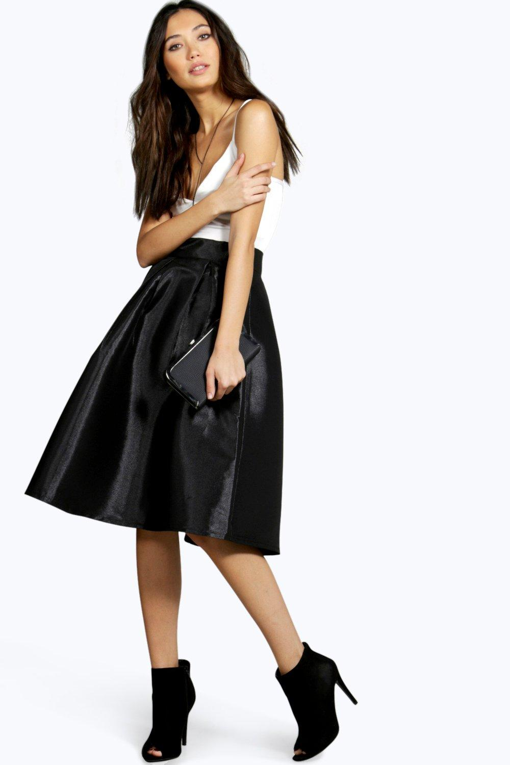 Bahia Pleated Full Midi Skirt at boohoo.com